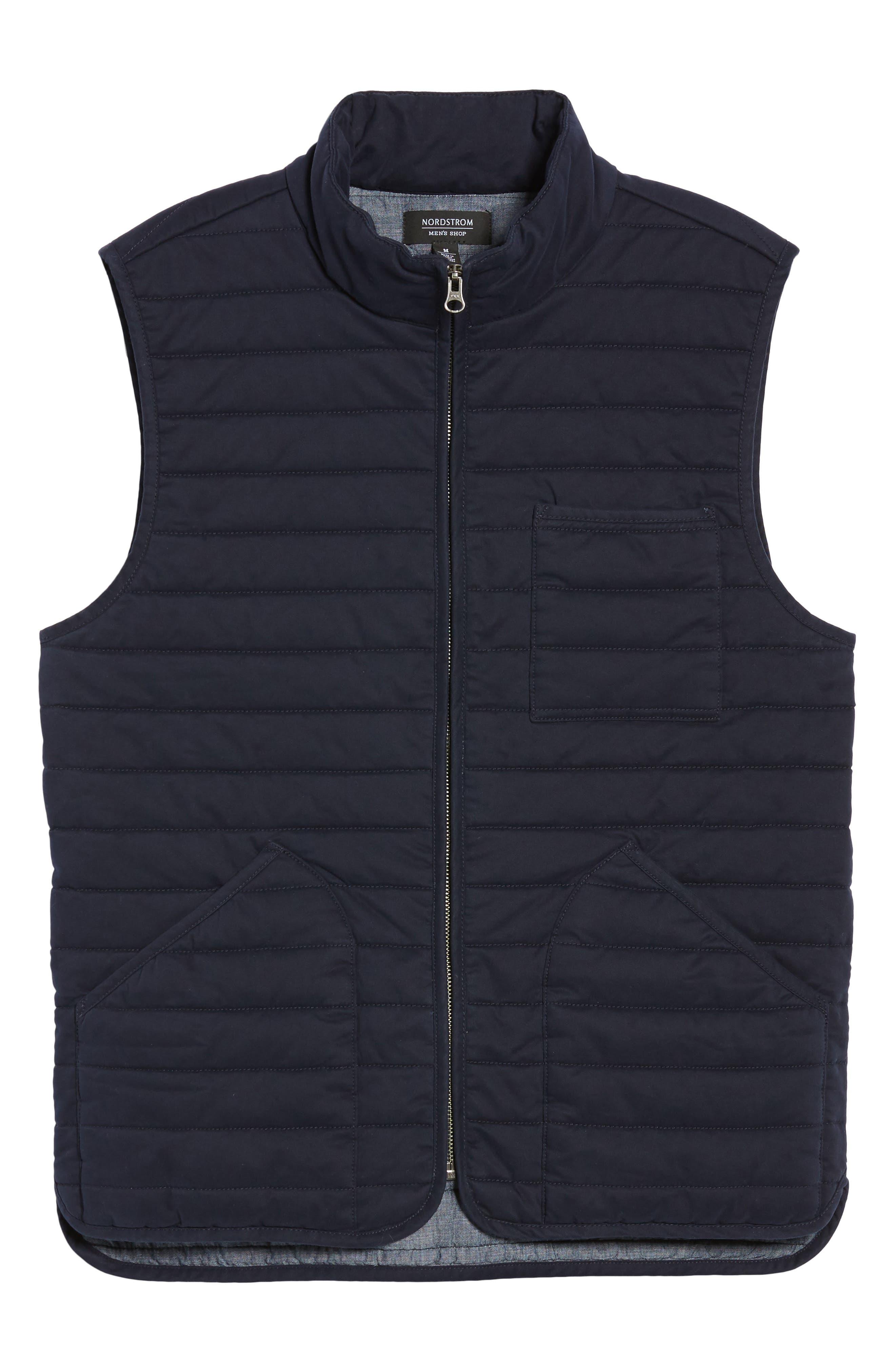 Quilted Twill Vest,                             Alternate thumbnail 6, color,                             Navy Night