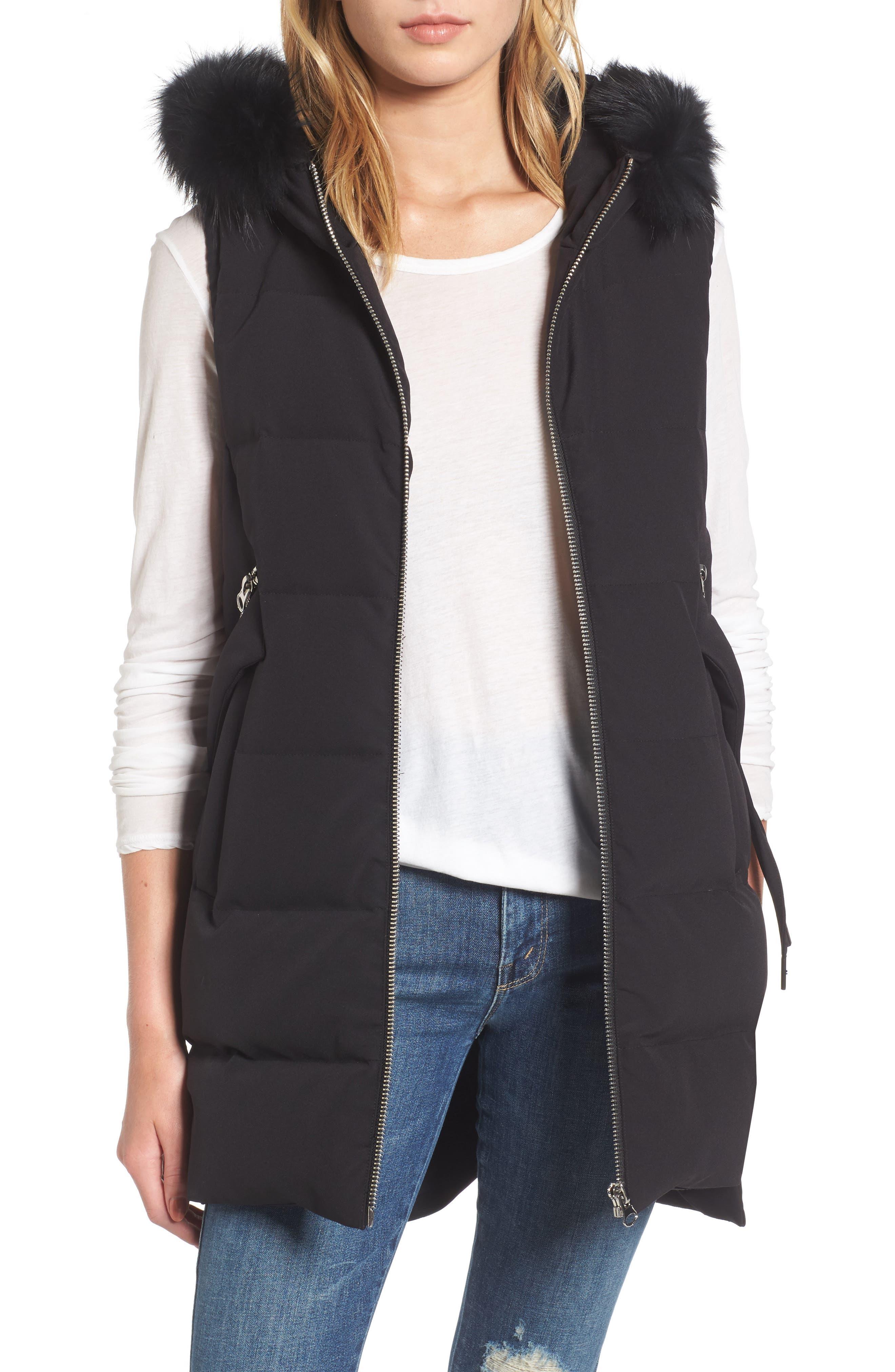 Down Vest with Genuine Fox Fur,                         Main,                         color, Black