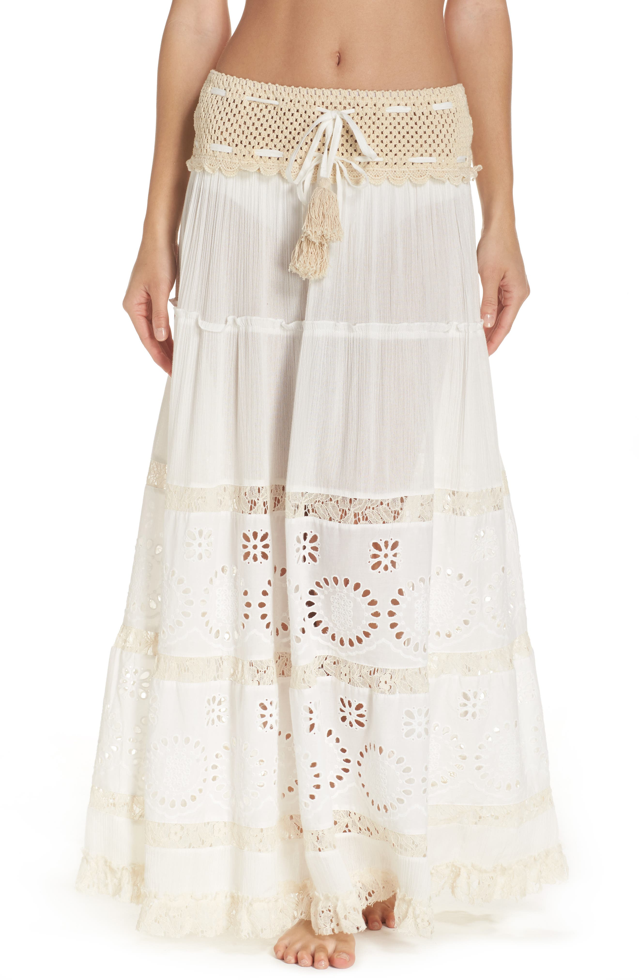 Cover-Up Maxi Skirt,                         Main,                         color, Ivory/ Natural