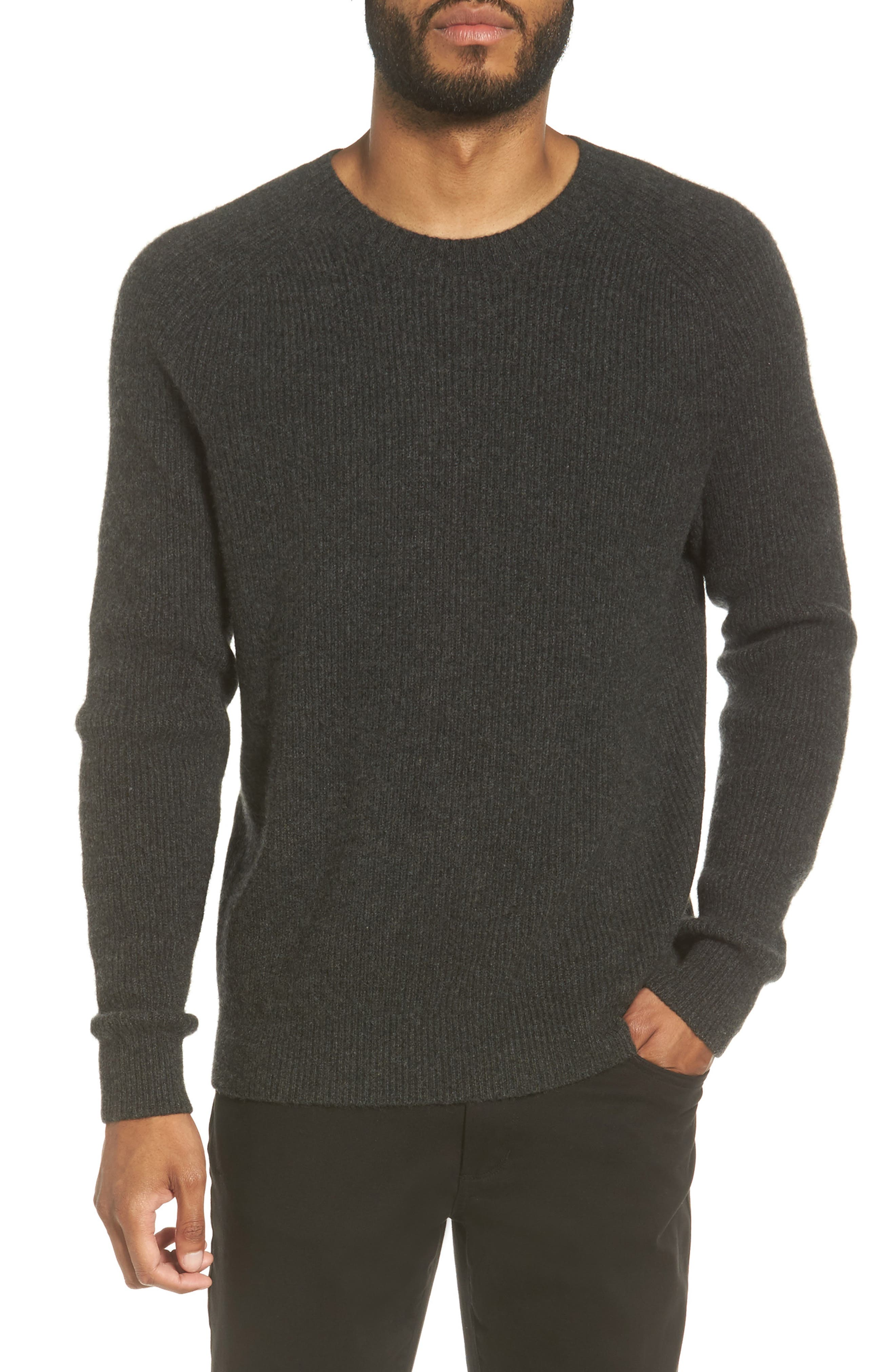 Ribbed Wool & Cashmere Raglan Sweater,                             Main thumbnail 1, color,                             Heather Carbon