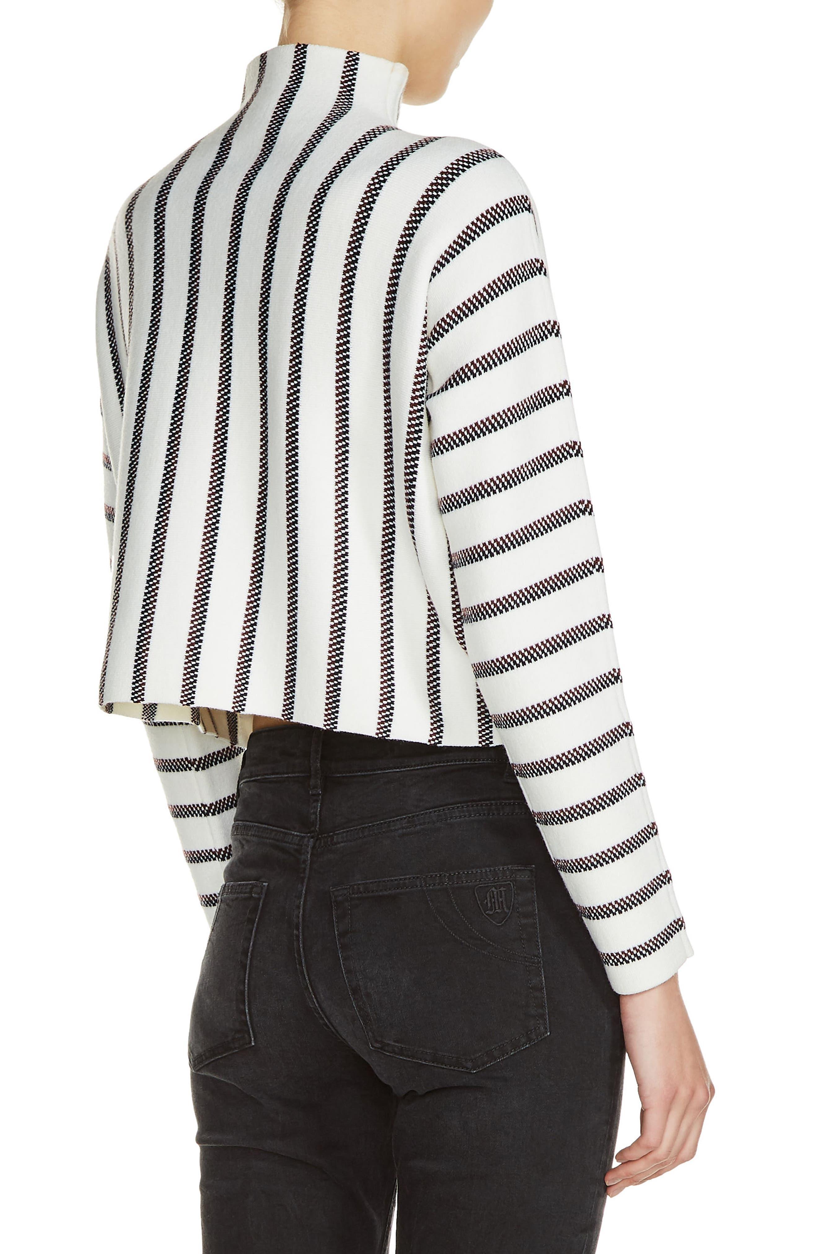 Mesh Stripe Crop Sweater,                             Alternate thumbnail 2, color,                             Ecru