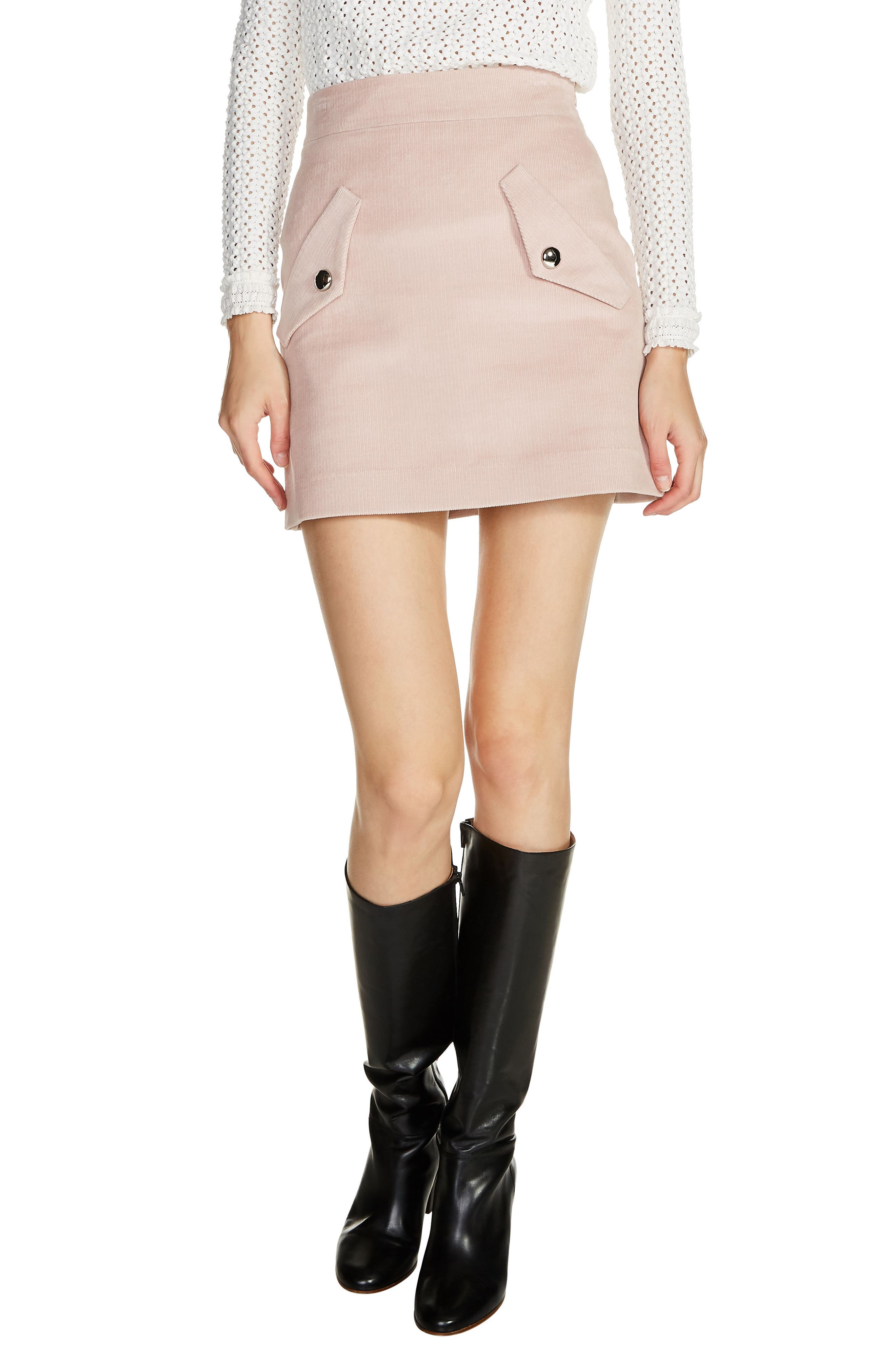 Two-Pocket A-Line Miniskirt,                             Main thumbnail 1, color,                             Pink