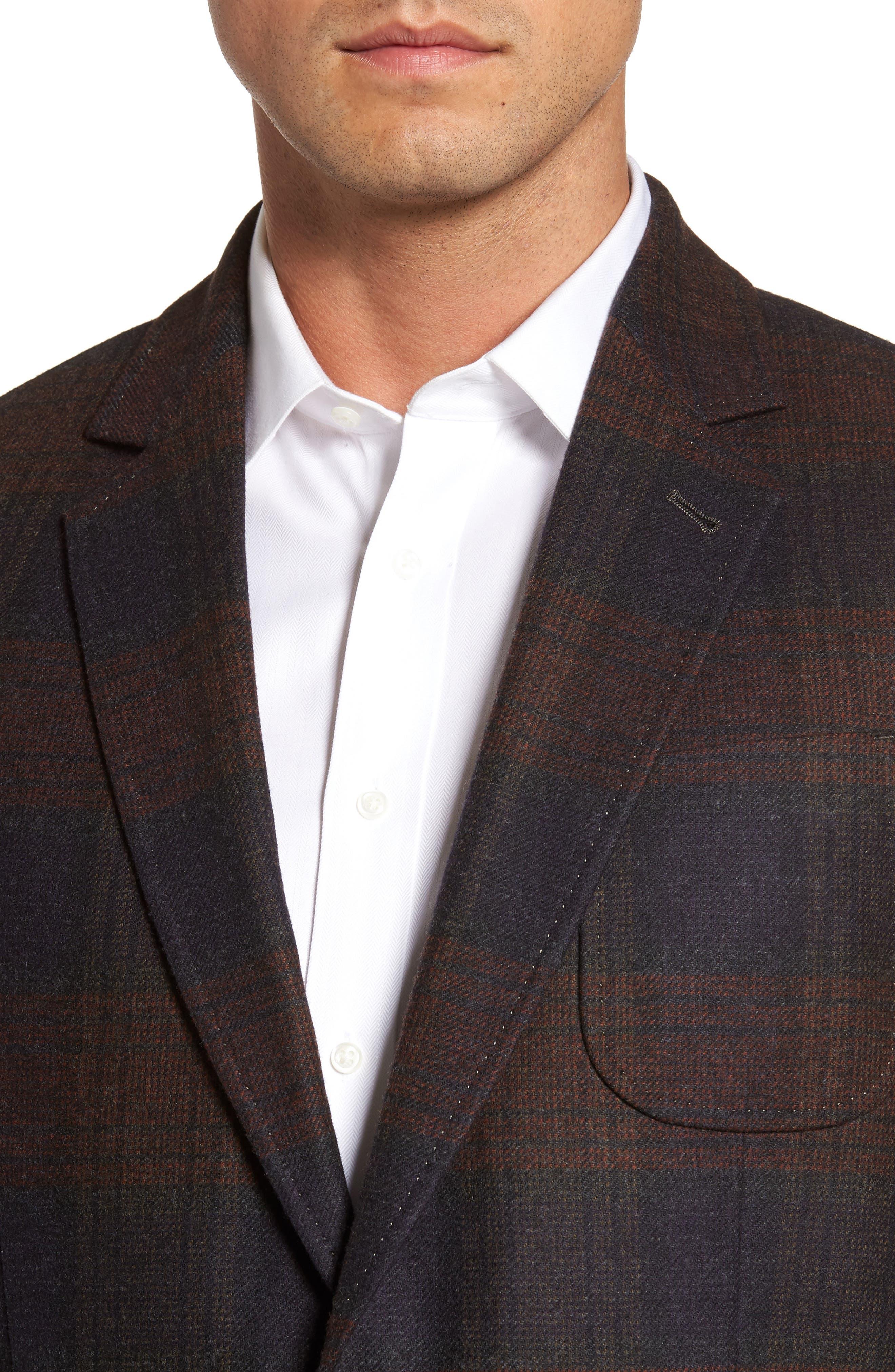 Plaid Wool Sport Coat,                             Alternate thumbnail 4, color,                             Charcoal
