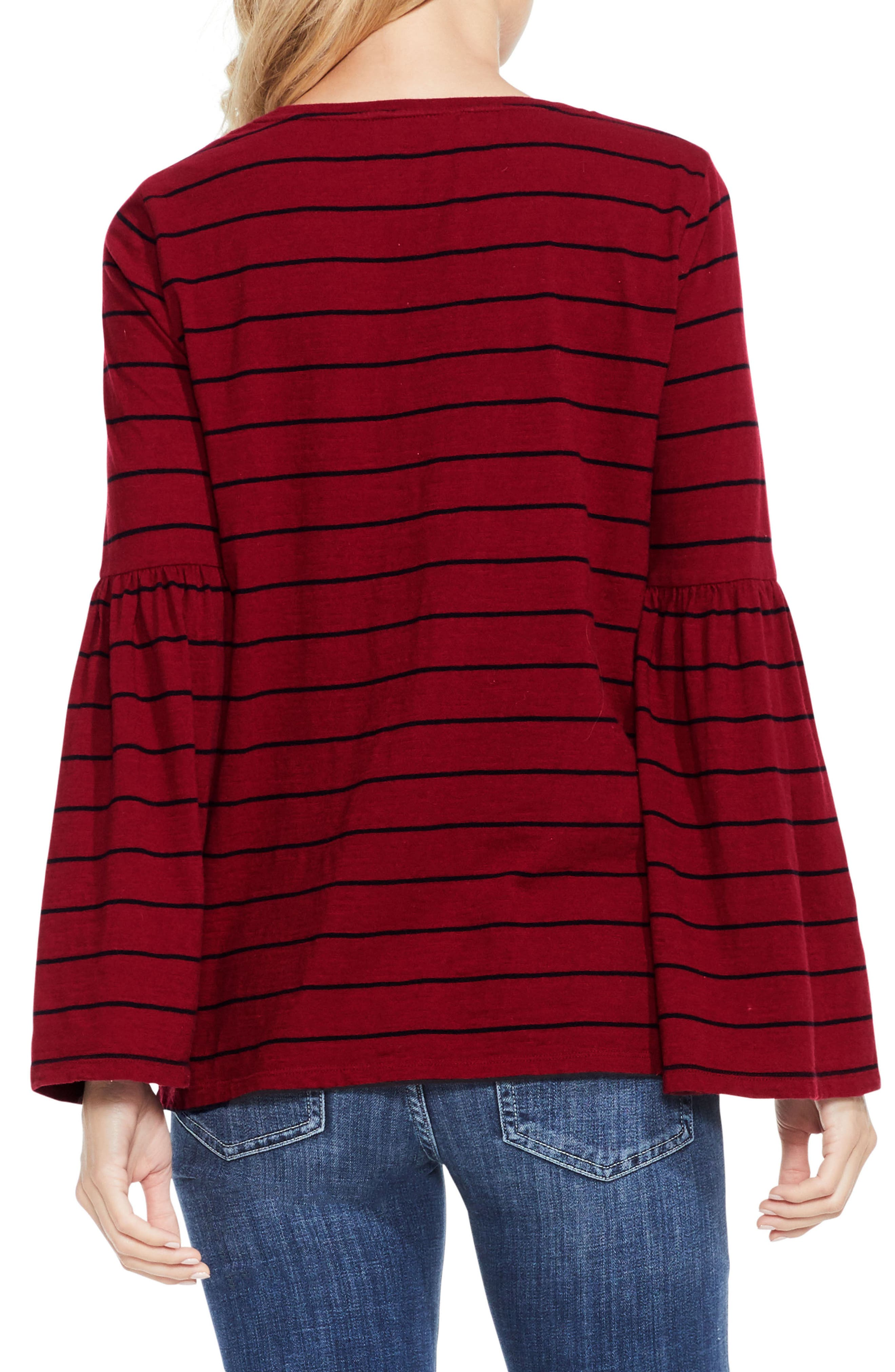 Alternate Image 3  - Two by Vince Camuto Bell Sleeve Stripe Top
