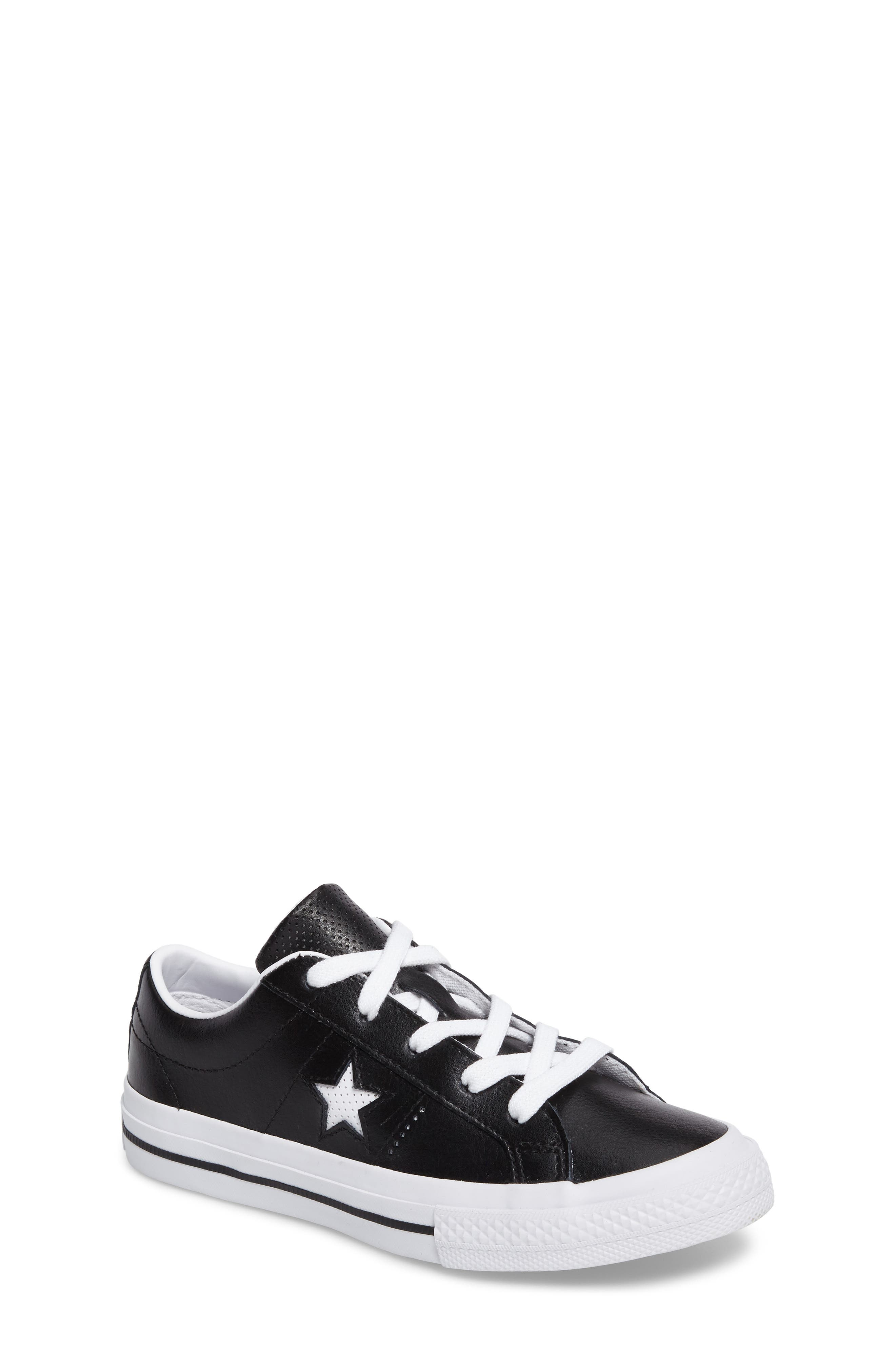 Chuck Taylor<sup>®</sup> All Star<sup>®</sup> One Star Sneaker,                             Main thumbnail 1, color,                             Black Leather