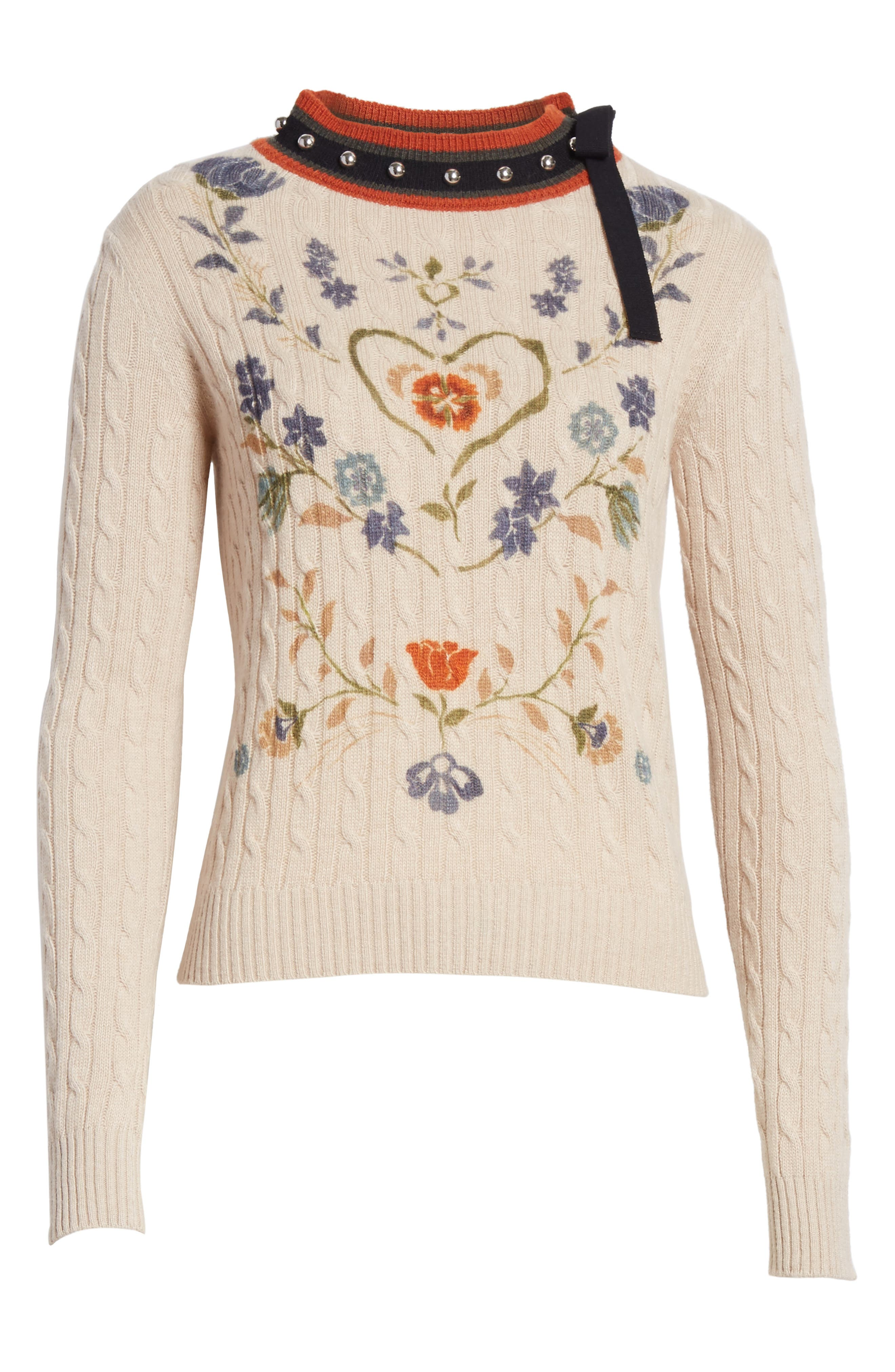 Alternate Image 6  - RED Valentino Printed Wool & Angora Blend Sweater