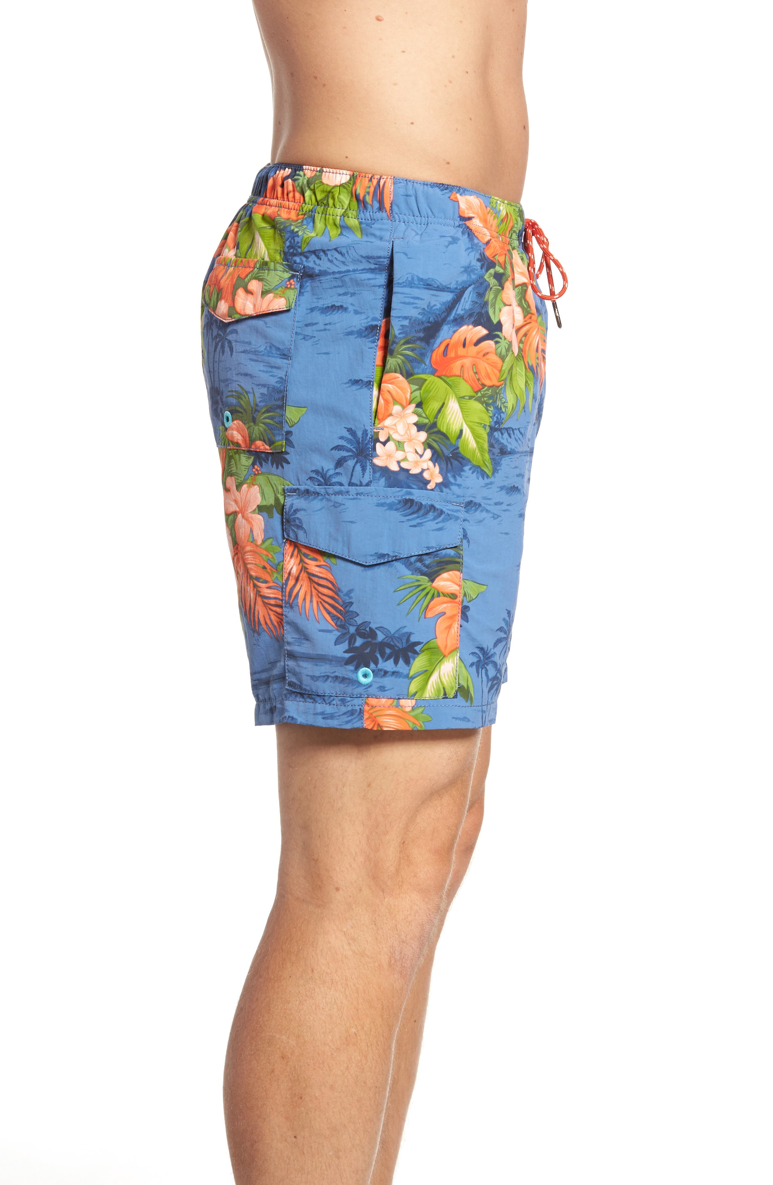 Naples Fiji Ferns Swim Trunks,                             Alternate thumbnail 3, color,                             Dockside Blue
