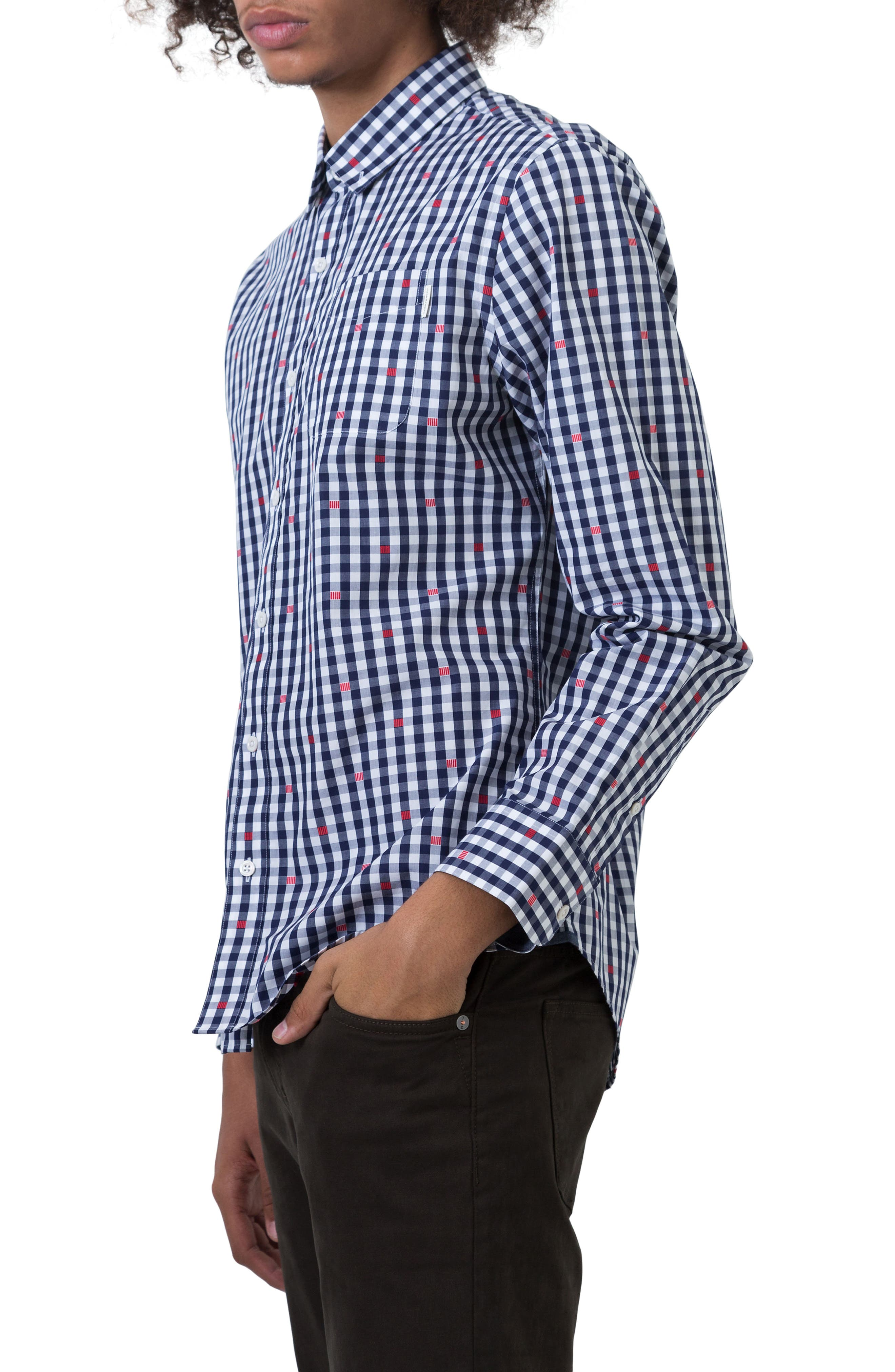 Petrichor Woven Shirt,                             Alternate thumbnail 3, color,                             Navy