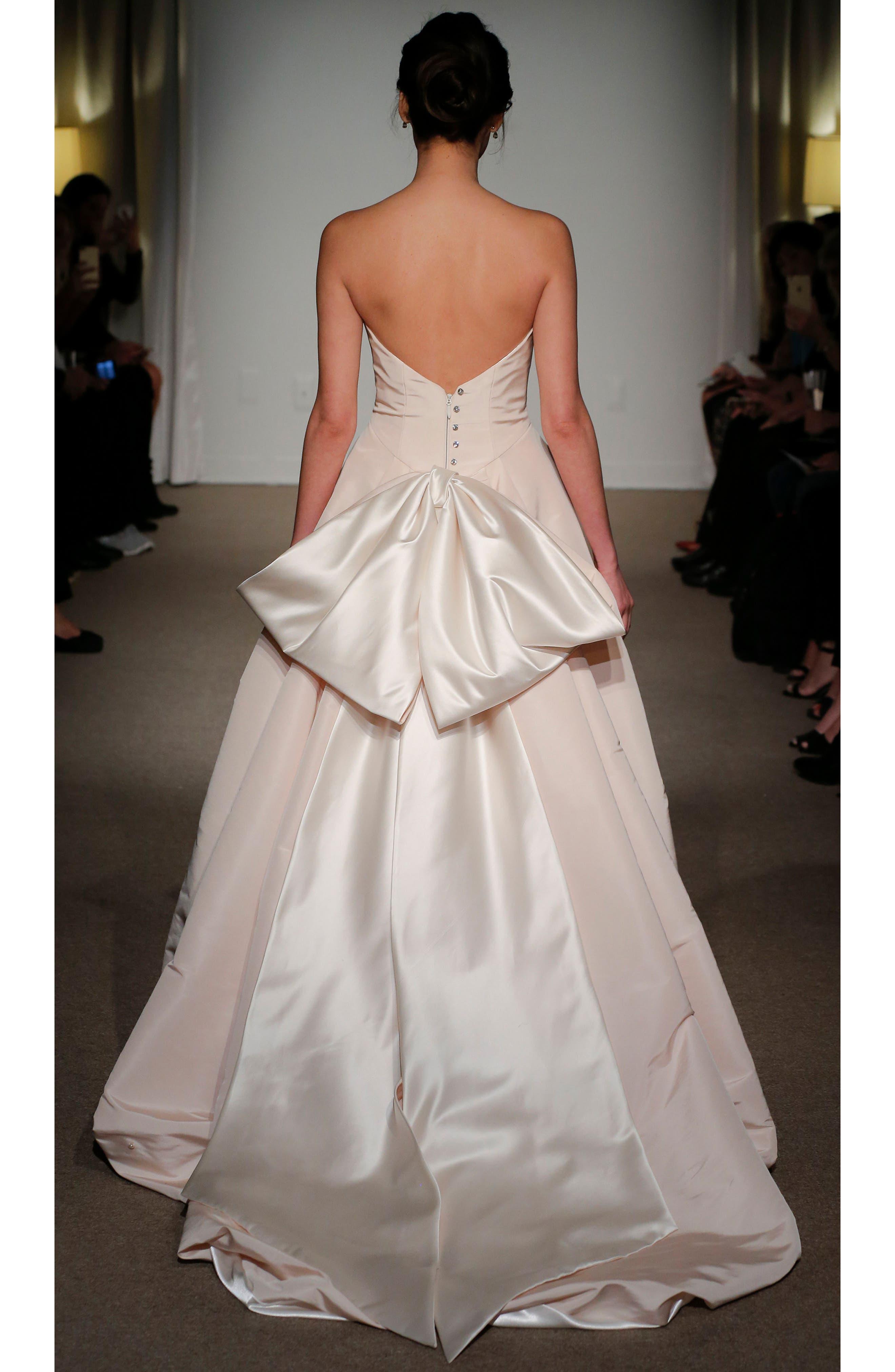 Cheri Bow Detail Strapless Faille Ballgown,                             Alternate thumbnail 2, color,                             Soft White