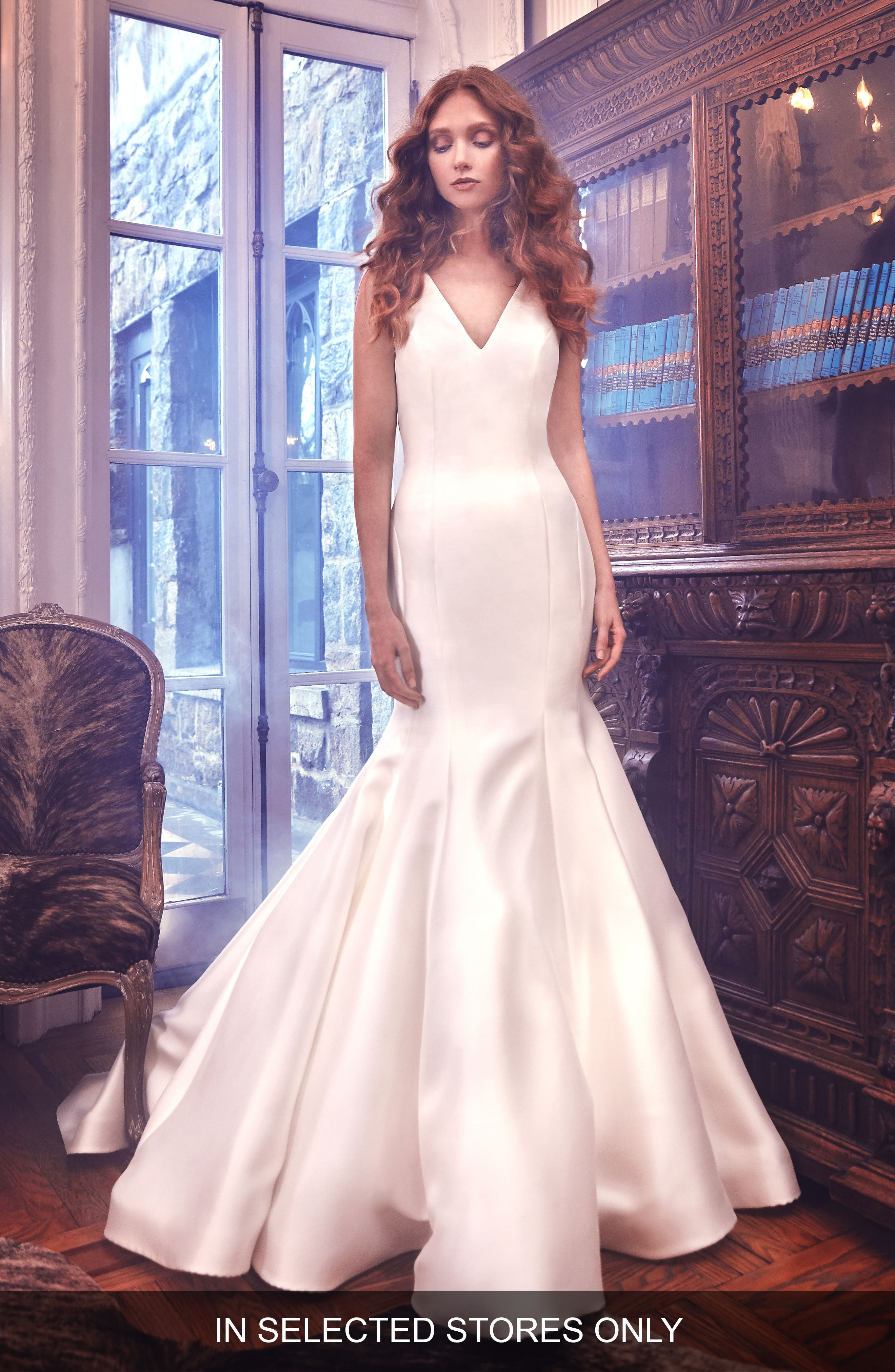 Mercer Shantung Trumpet Gown,                         Main,                         color, Ivory