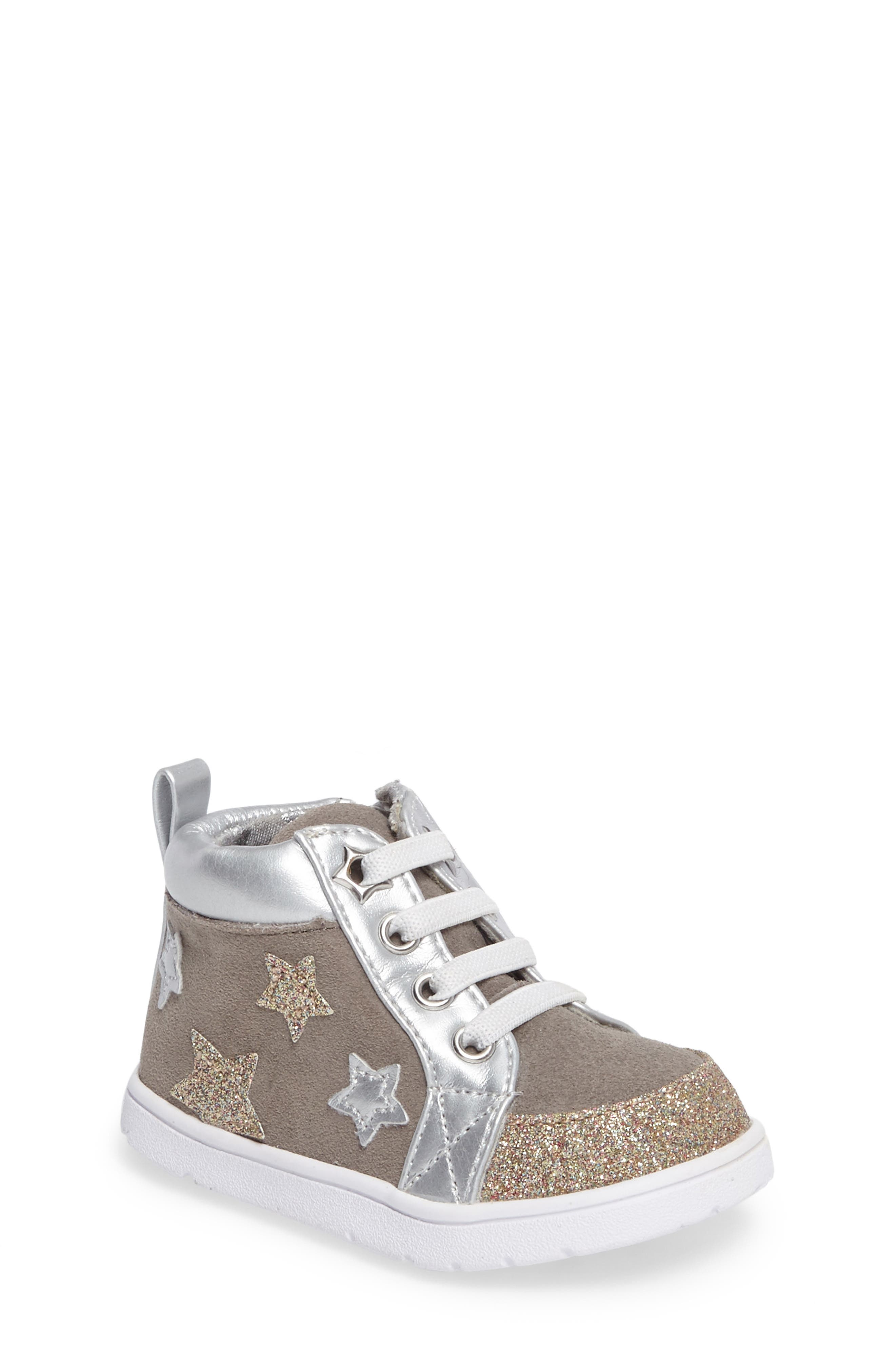 Diantha Star Appliqué High Top Sneaker,                             Main thumbnail 1, color,                             Grey Leather