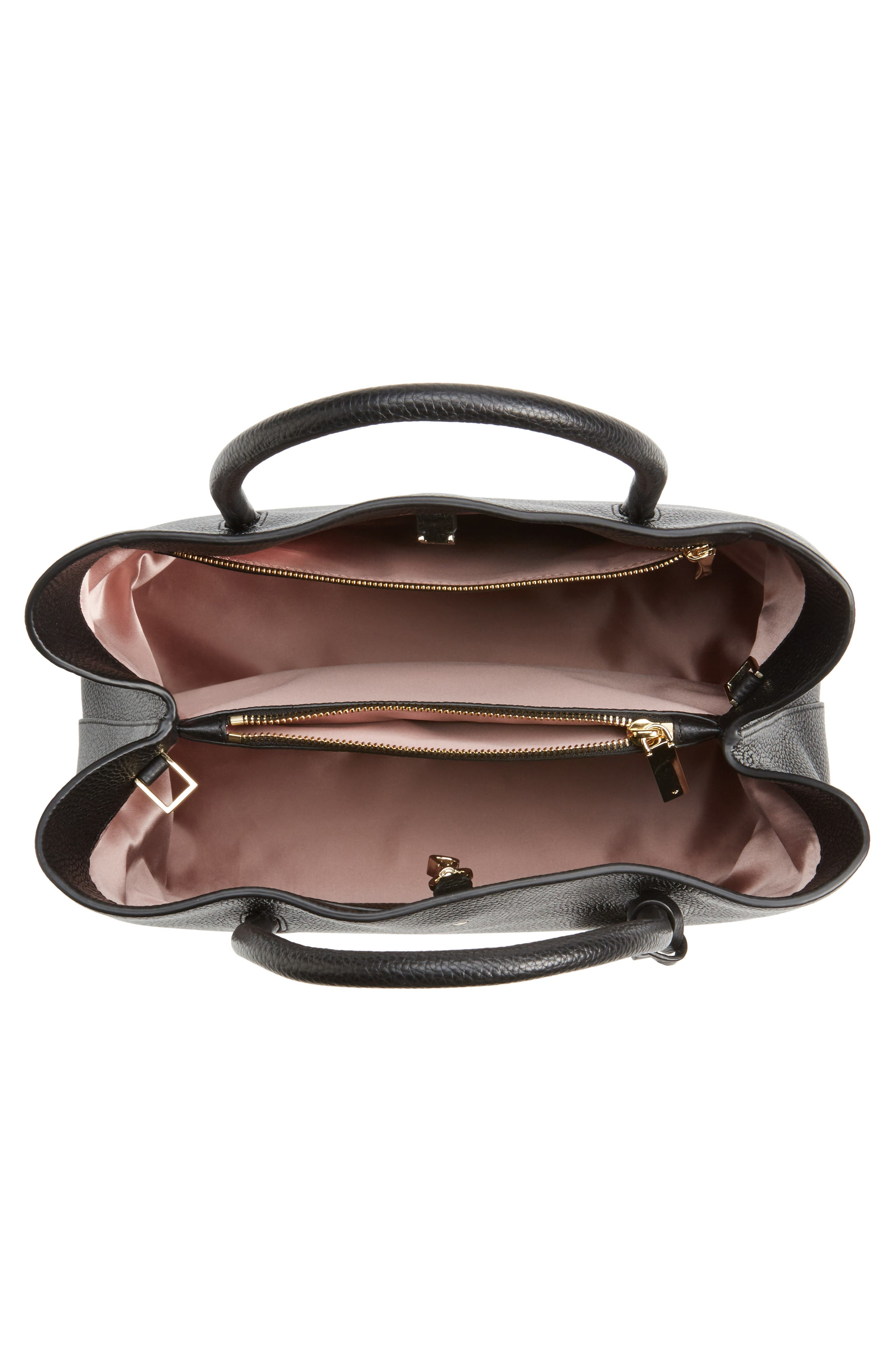 large madison knollwood drive - celestina leather satchel,                             Alternate thumbnail 3, color,                             Black