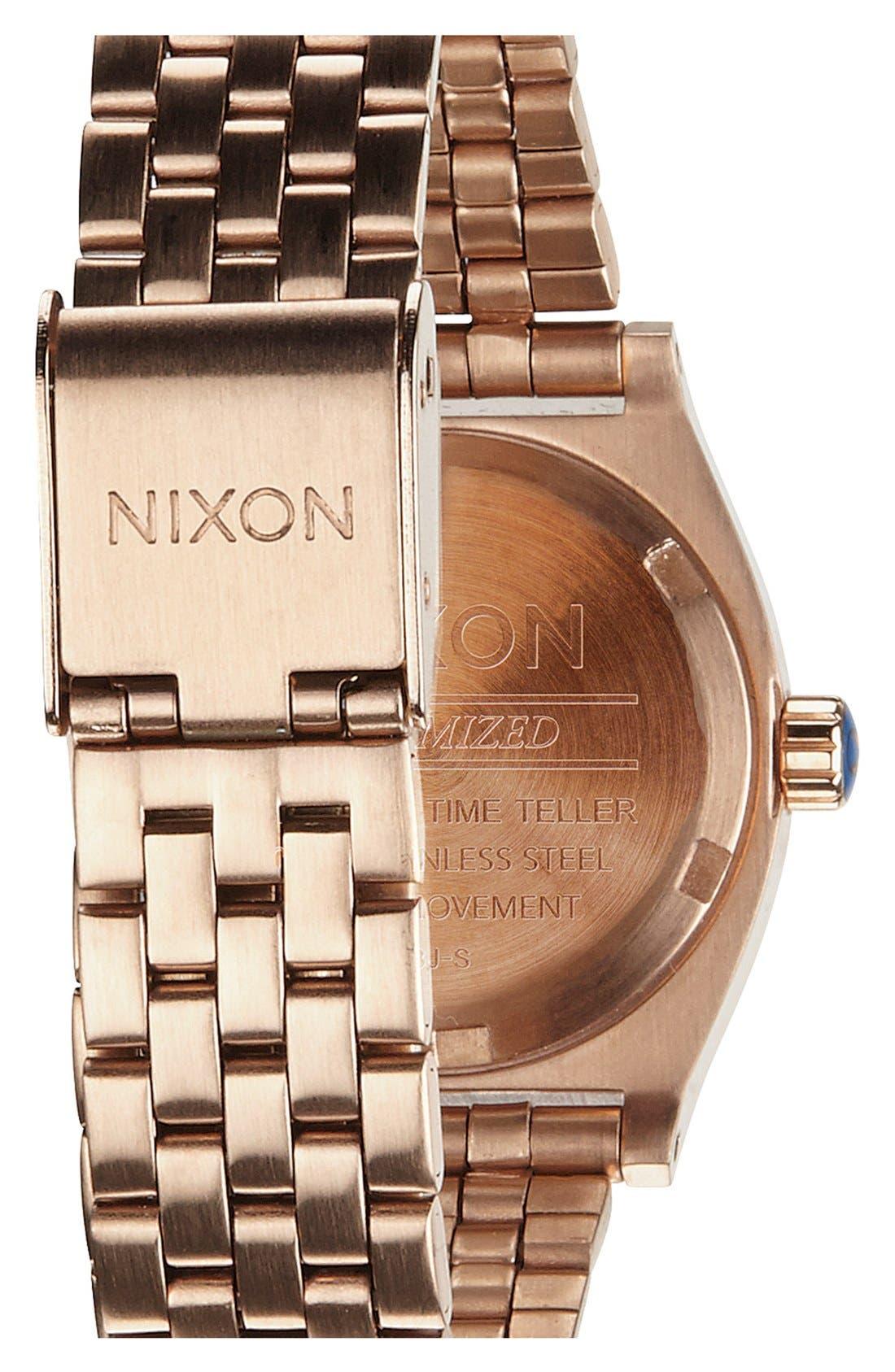 'The Small Time Teller' Bracelet Watch, 26mm,                             Alternate thumbnail 2, color,                             Rose Gold/ Cobalt