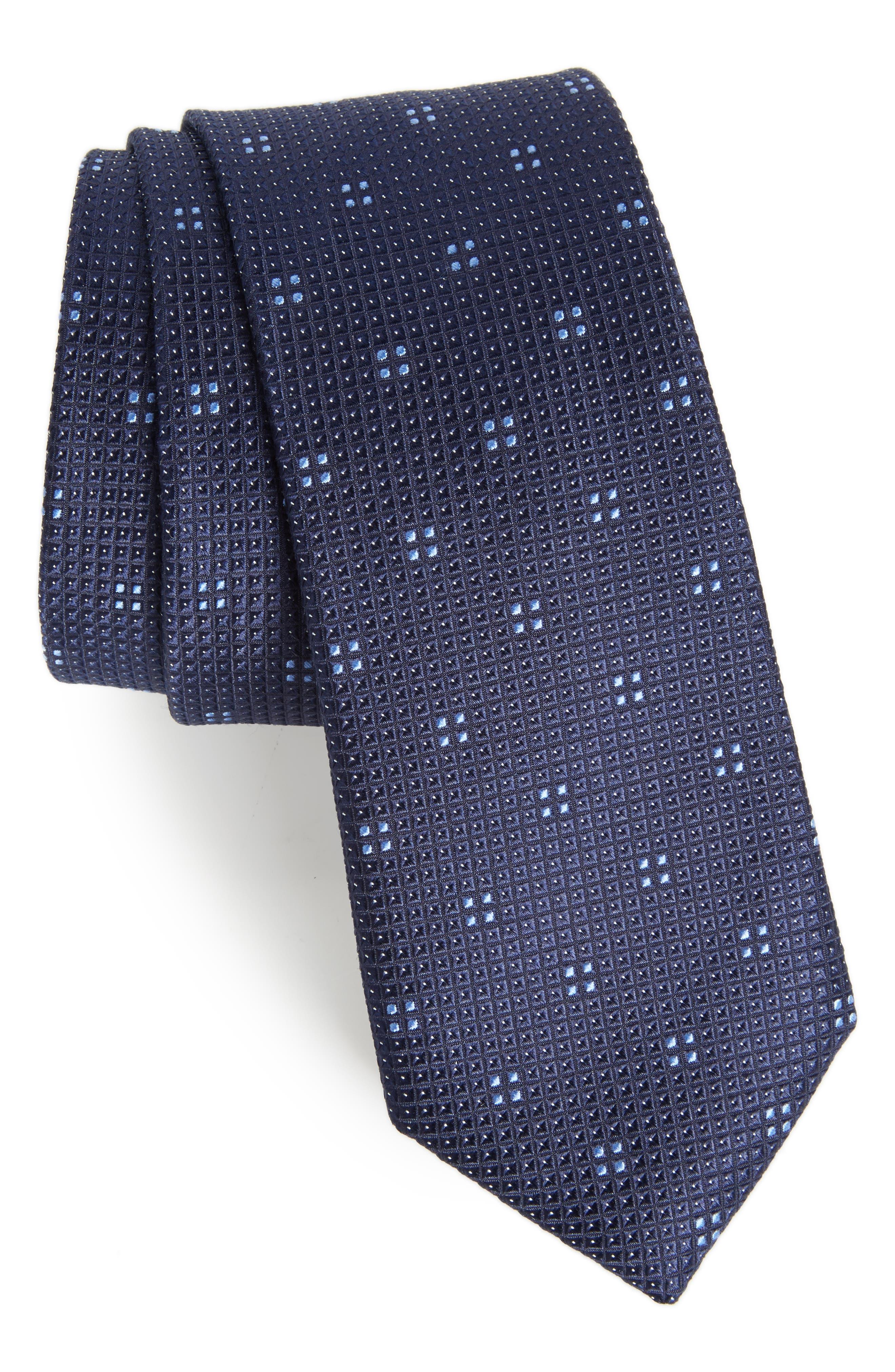 Classic Neat Silk Tie,                         Main,                         color, Navy