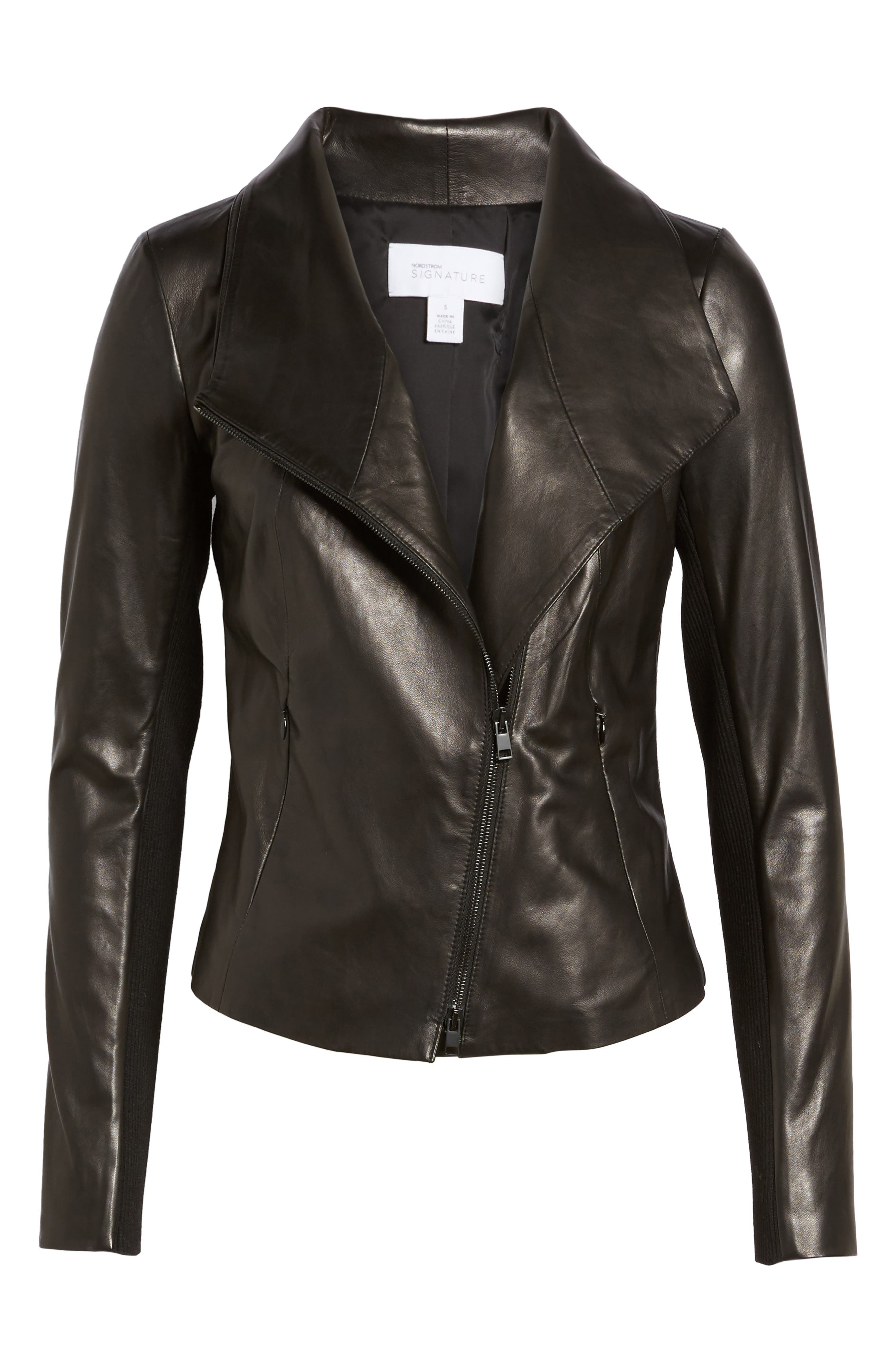 Stand Collar Leather Jacket,                             Alternate thumbnail 6, color,                             Black