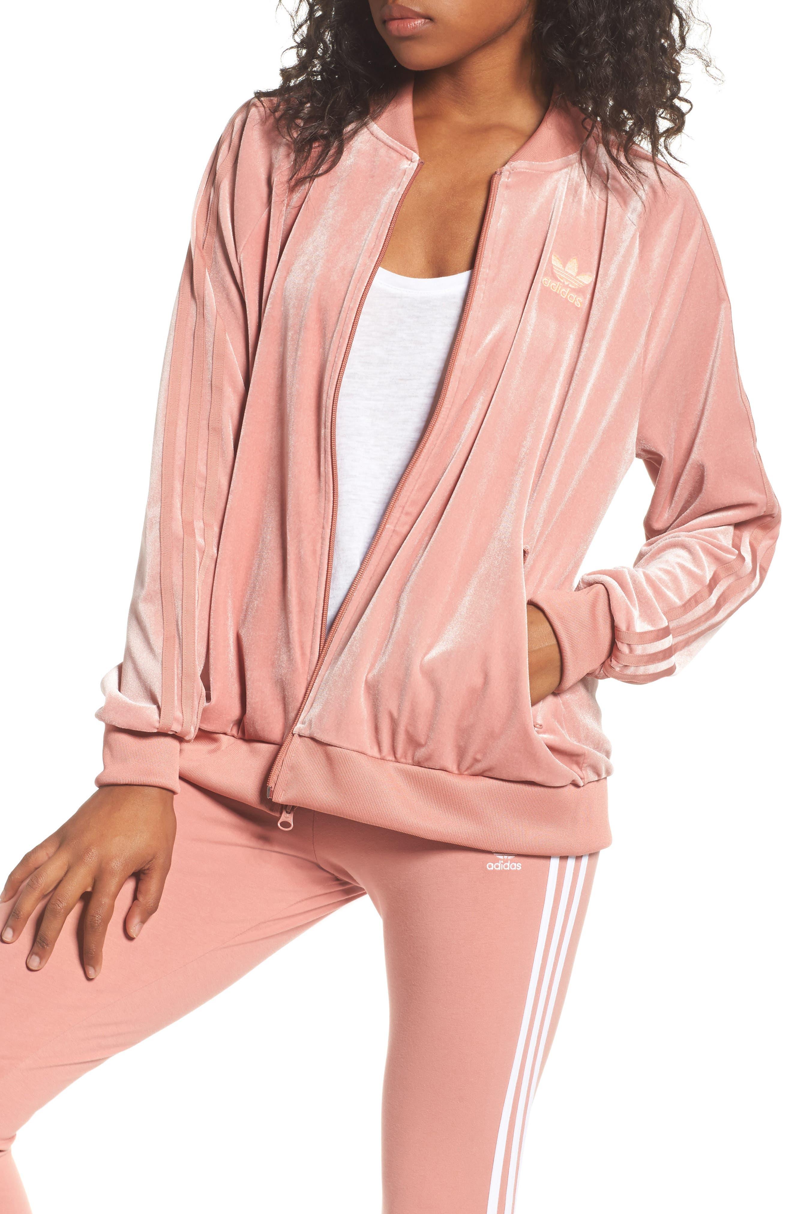 Velvet Zip Sweatshirt,                         Main,                         color, Raw Pink