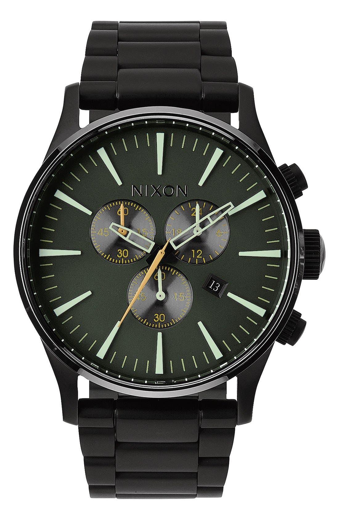 NIXON The Sentry Chronograph Bracelet Watch, 42mm