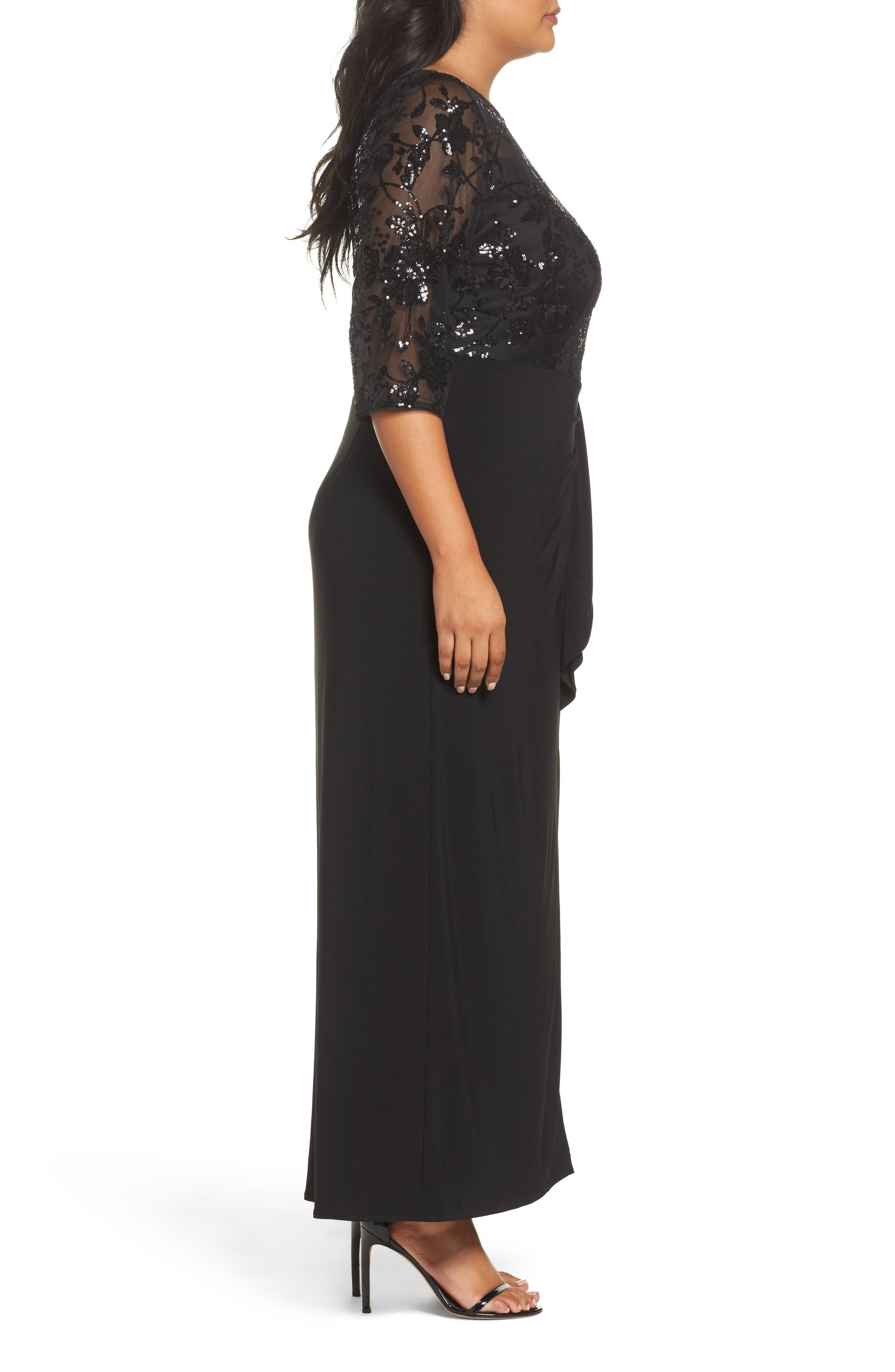 Alternate Image 3  - Alex Evenings Sequin Mesh & Jersey Column Gown (Plus Size)