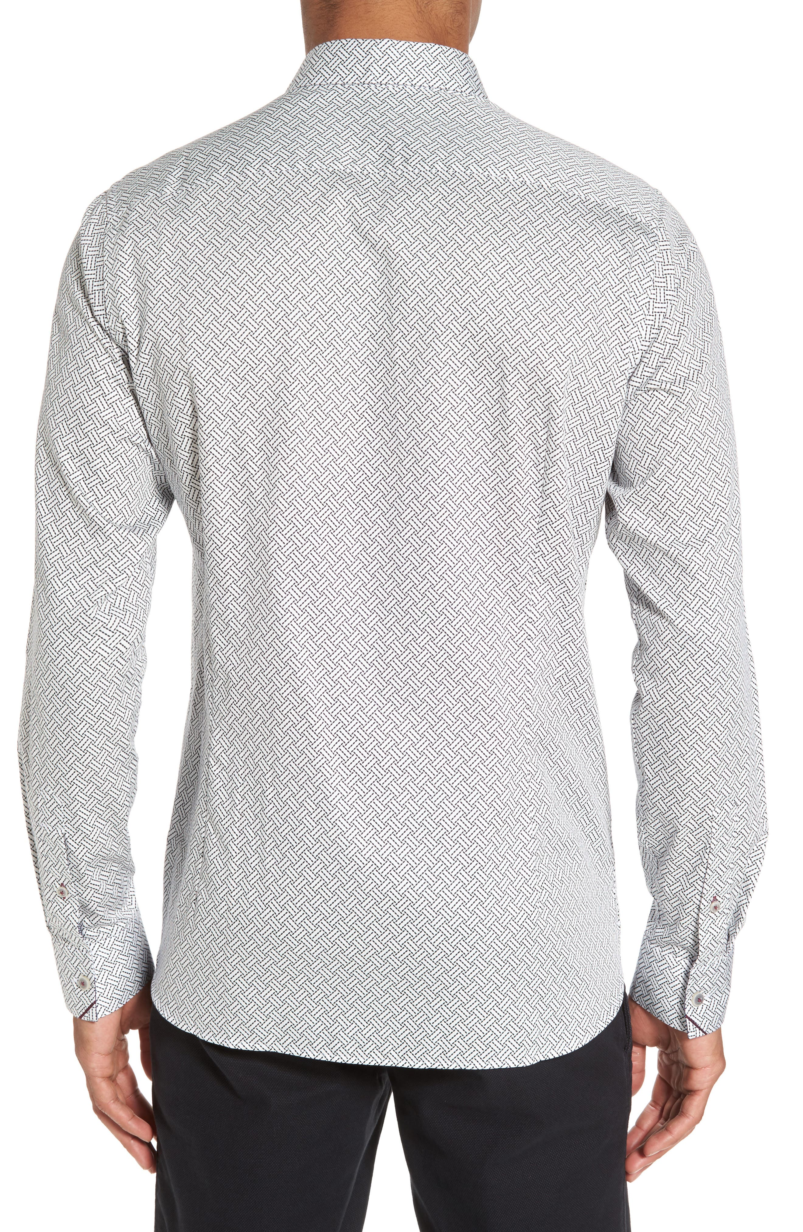 Larosh Slim Fit Basket Weave Print Sport Shirt,                             Alternate thumbnail 3, color,                             White