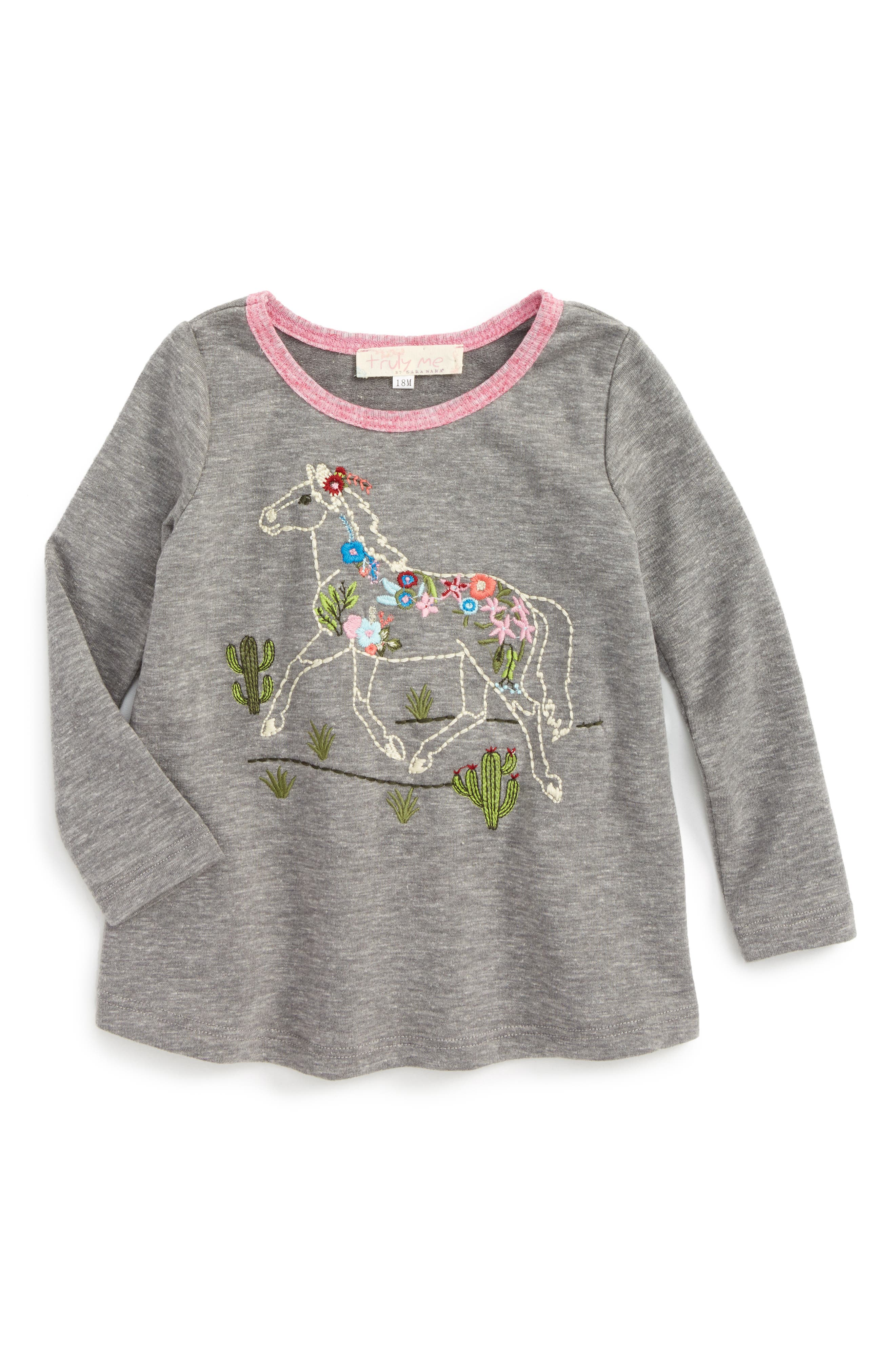 Main Image - Truly Me Embroidered Horse Tee (Baby Girls)