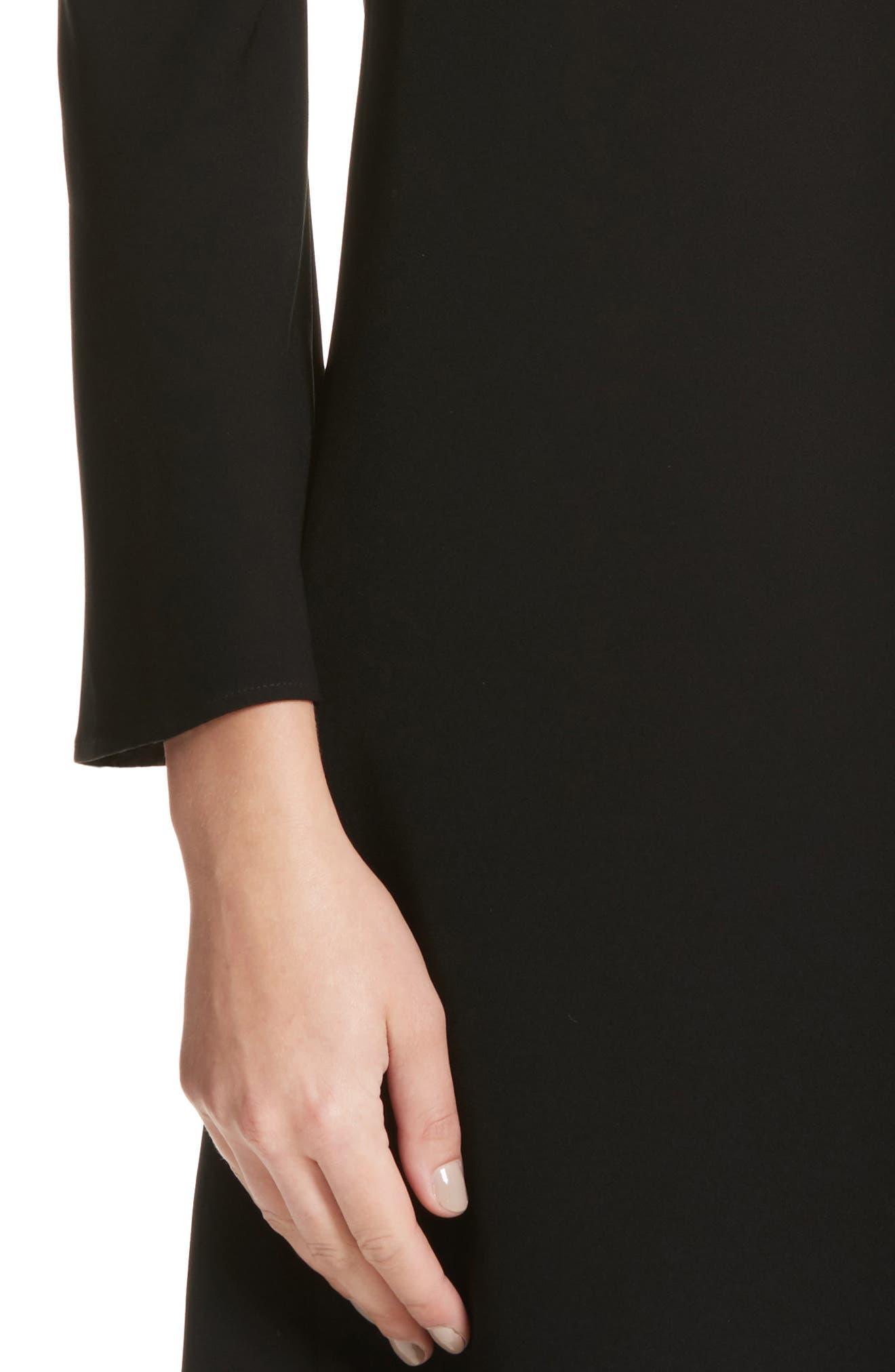 Kalitta Finesse Crepe Dress,                             Alternate thumbnail 4, color,                             Black