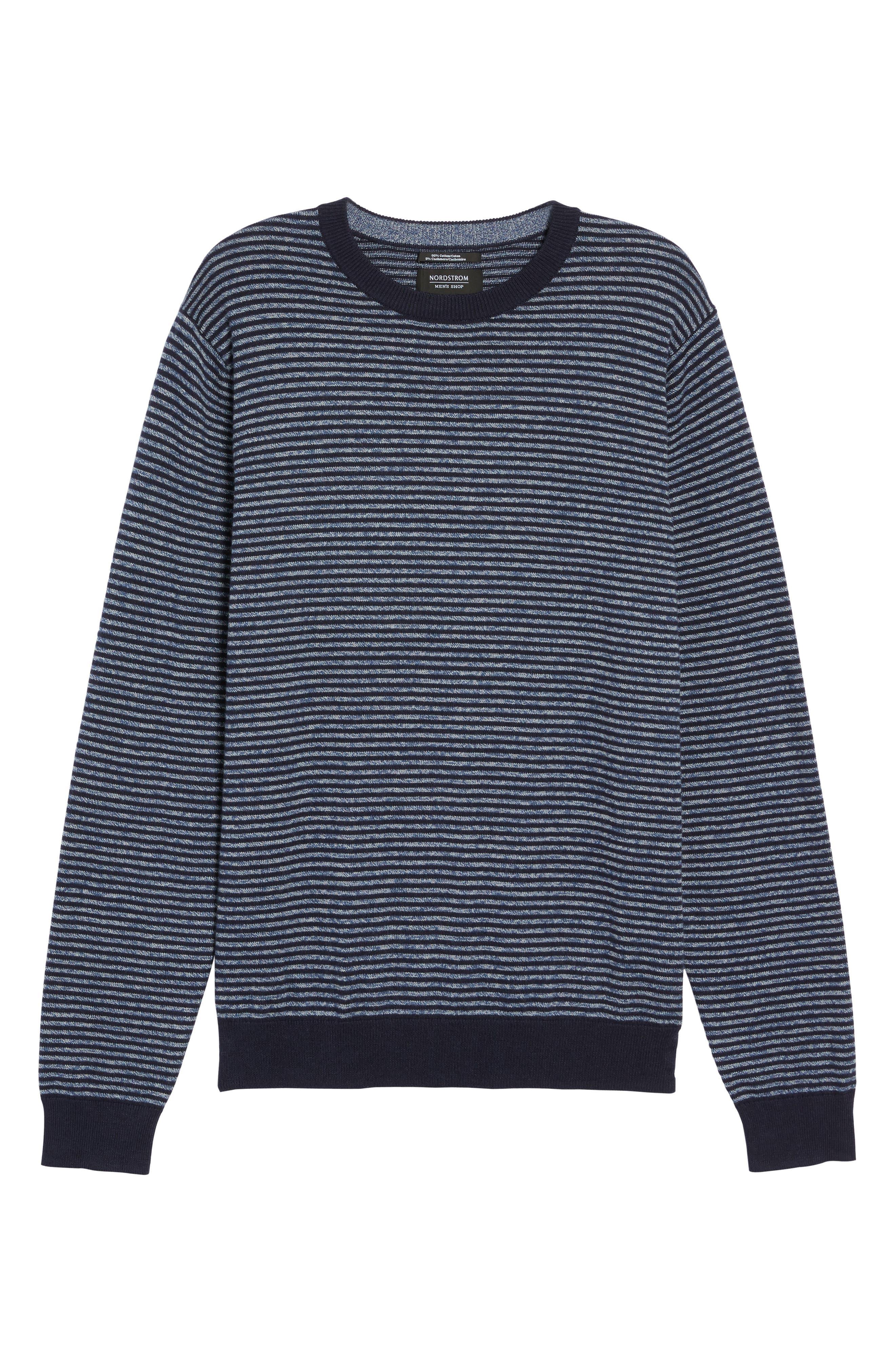 Stripe Cotton & Cashmere Crewneck Sweater,                             Alternate thumbnail 6, color,                             Navy Iris Jaspe Stripe