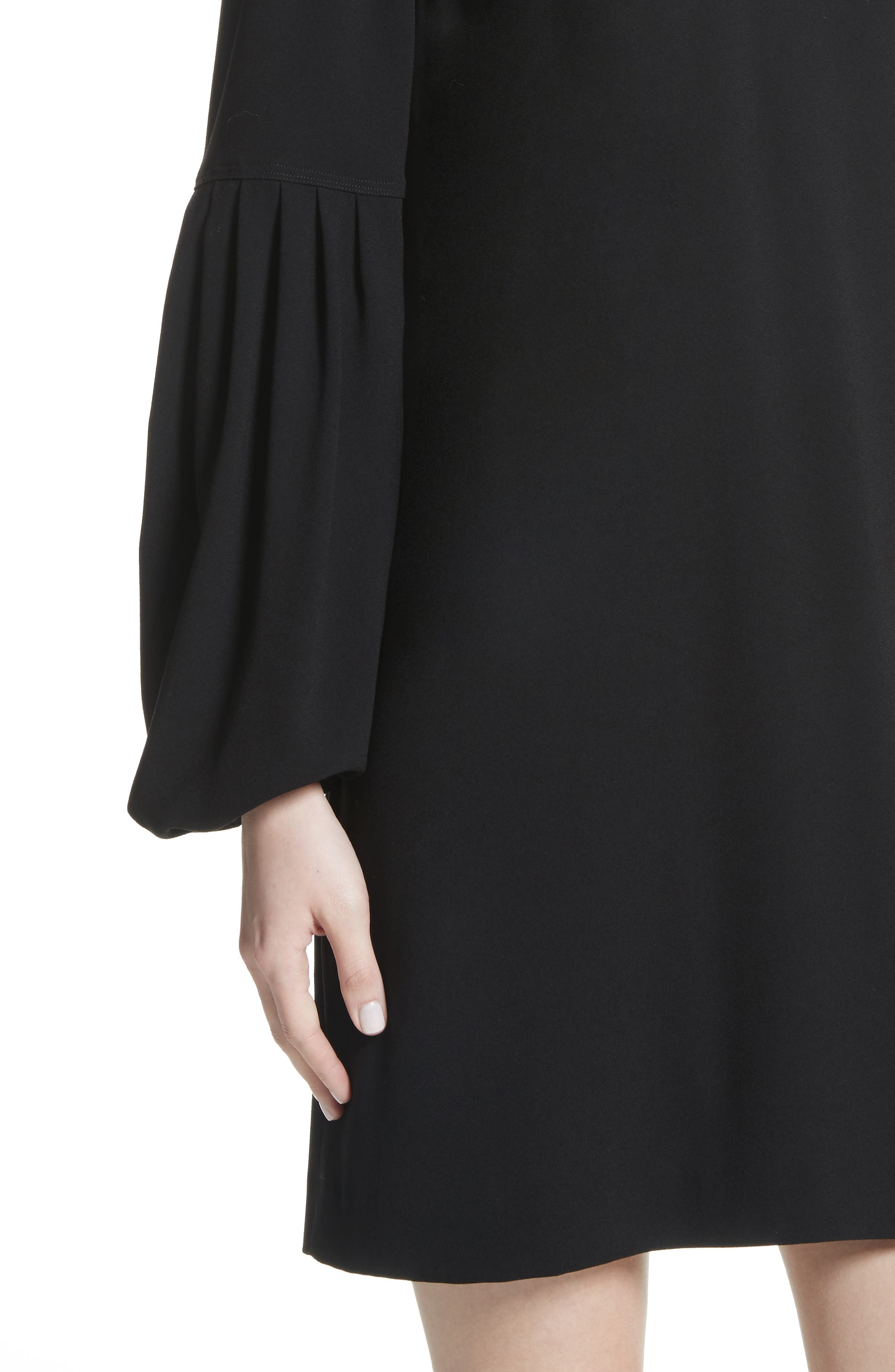 Claudia Puff Sleeve Dress,                             Alternate thumbnail 4, color,                             Black