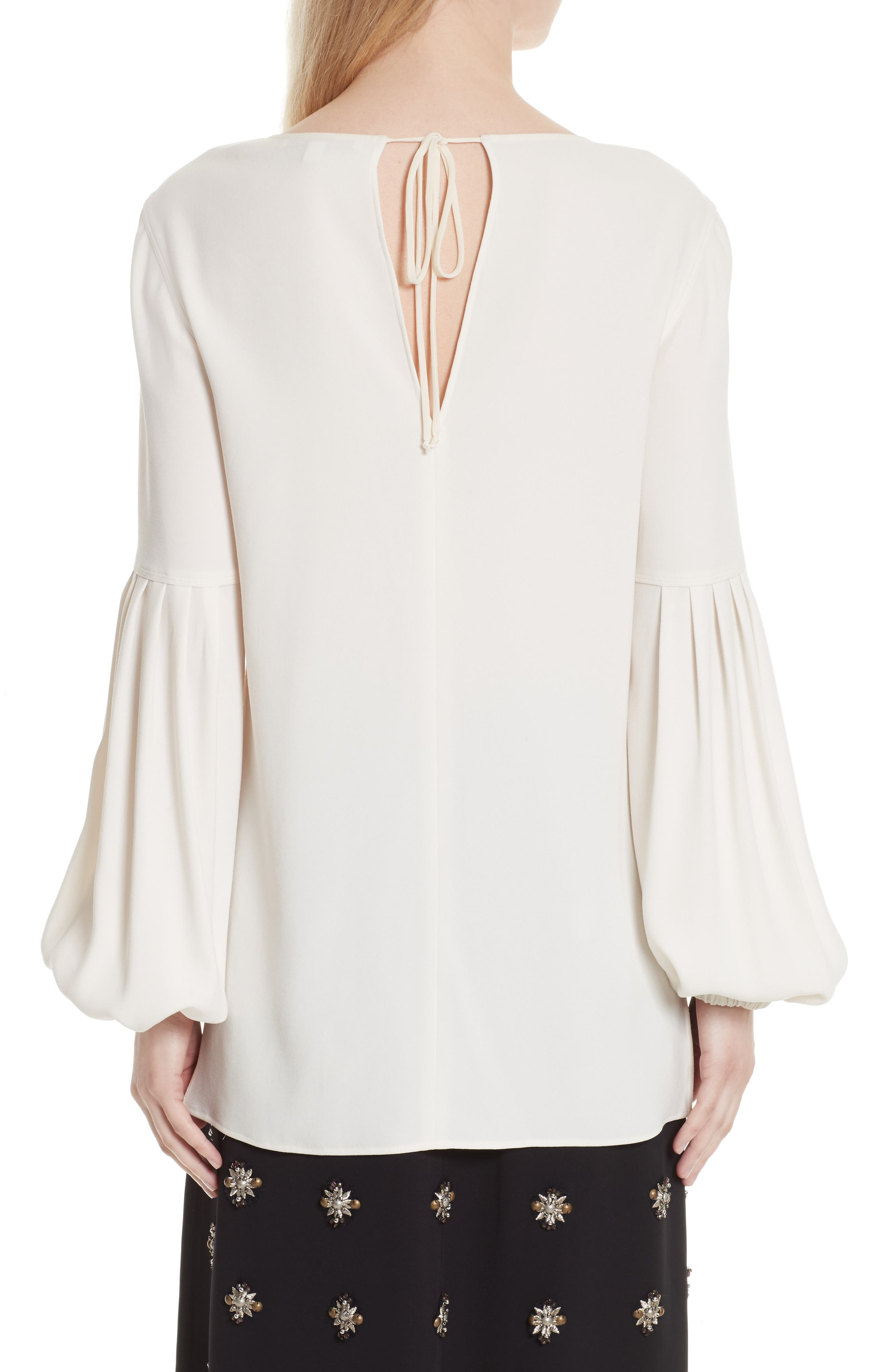 Harriet Puff Sleeve Blouse,                             Alternate thumbnail 3, color,                             Alabaster