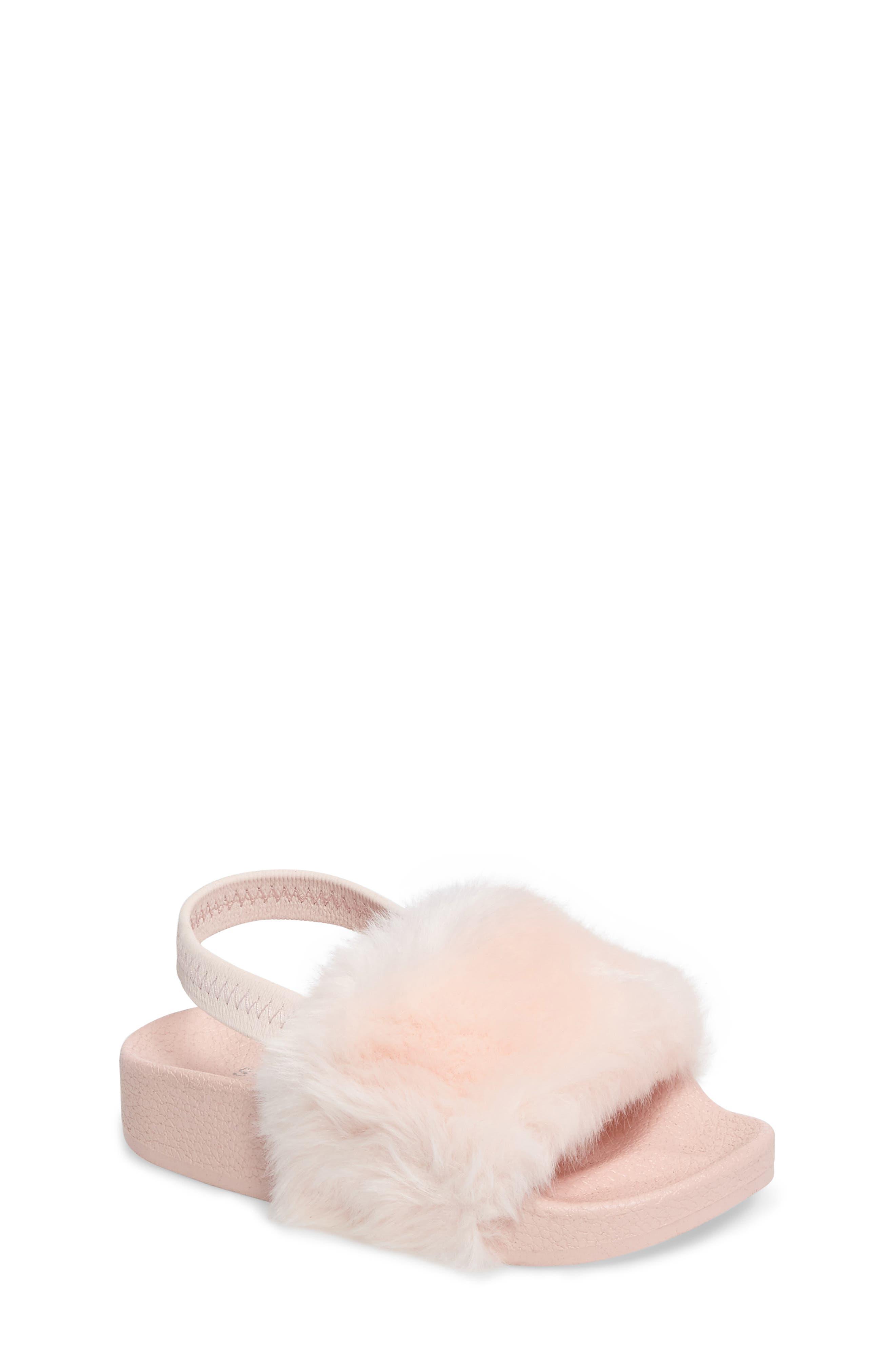 Steve Madden Tsoftey Faux Fur Slide Sandal (Toddler)