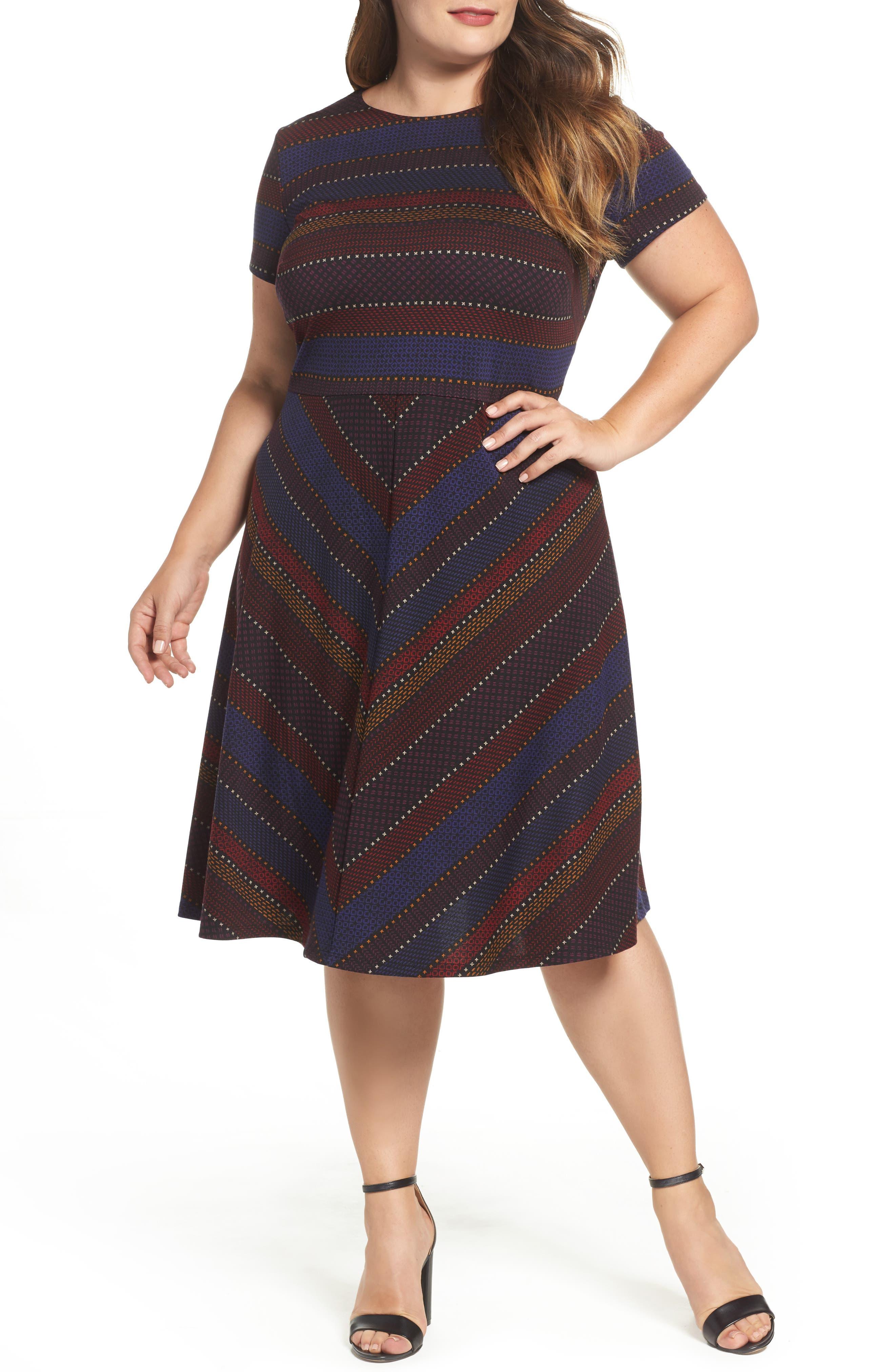 Sangria Print Fit & Flare Dress (Plus Size)