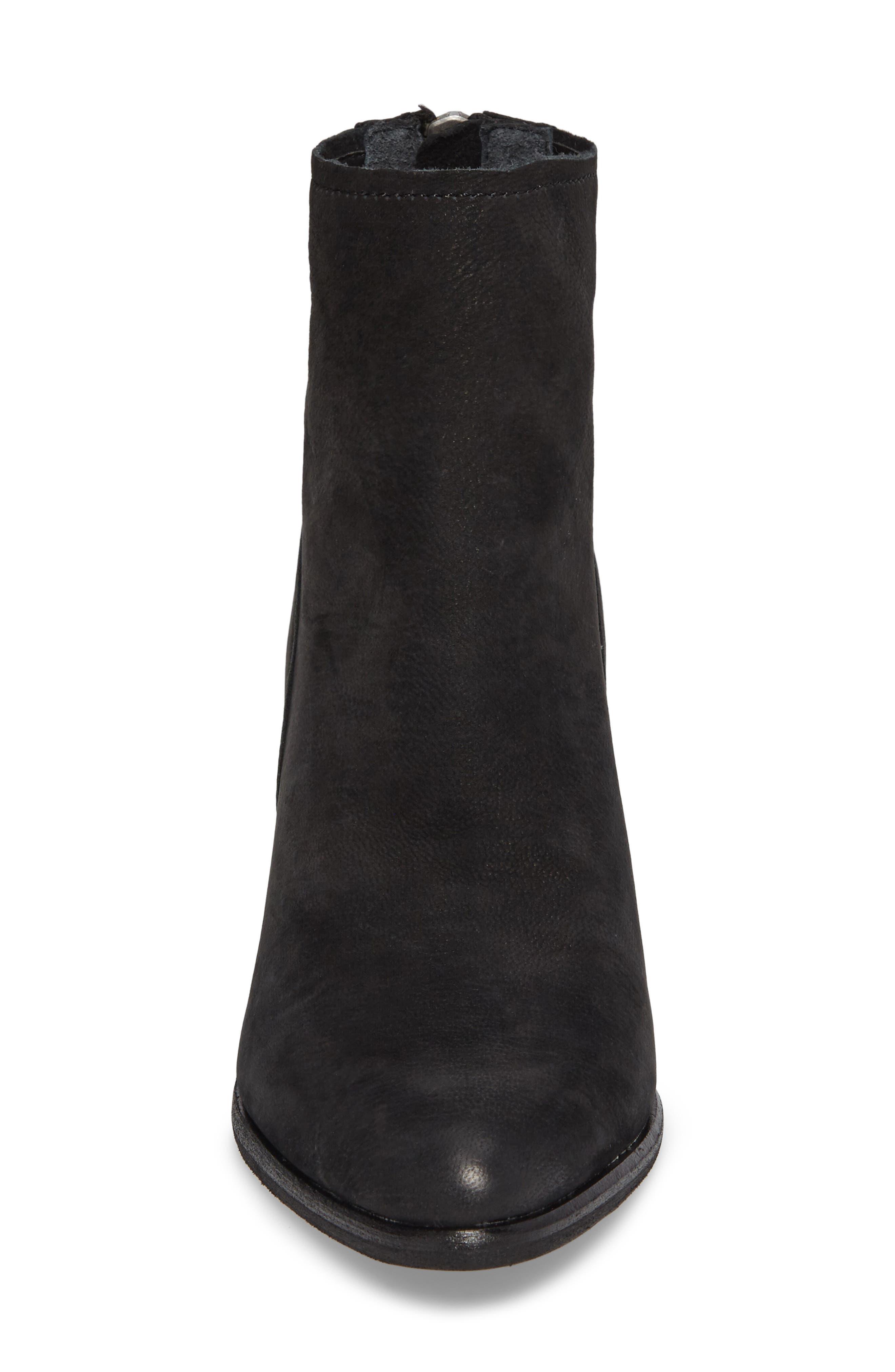 Cassius Block Heel Bootie,                             Alternate thumbnail 4, color,                             Black Nubuck Leather