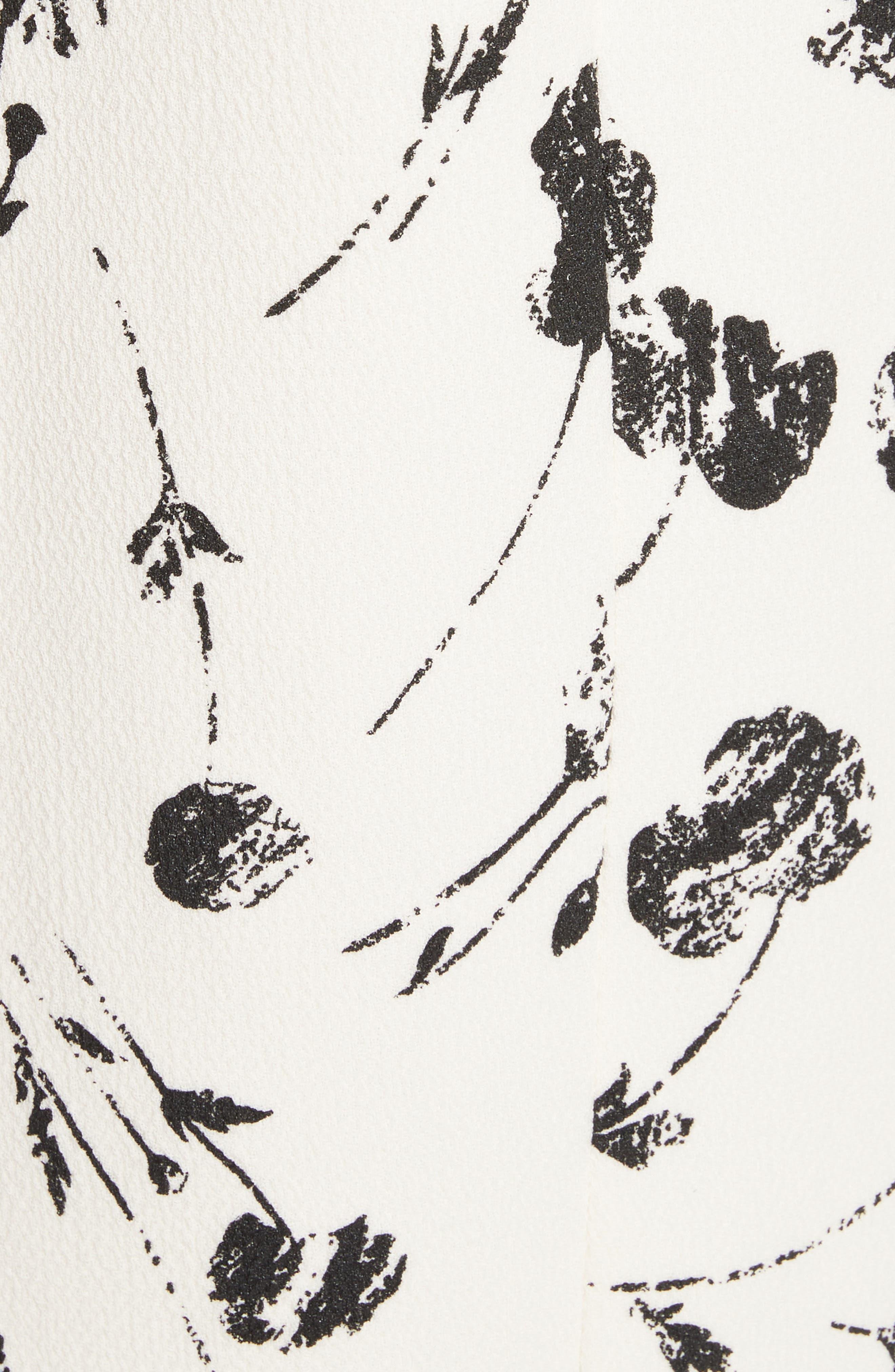 Alternate Image 5  - Oscar de la Renta Tossed Poppies Print Crepe Shift Dress