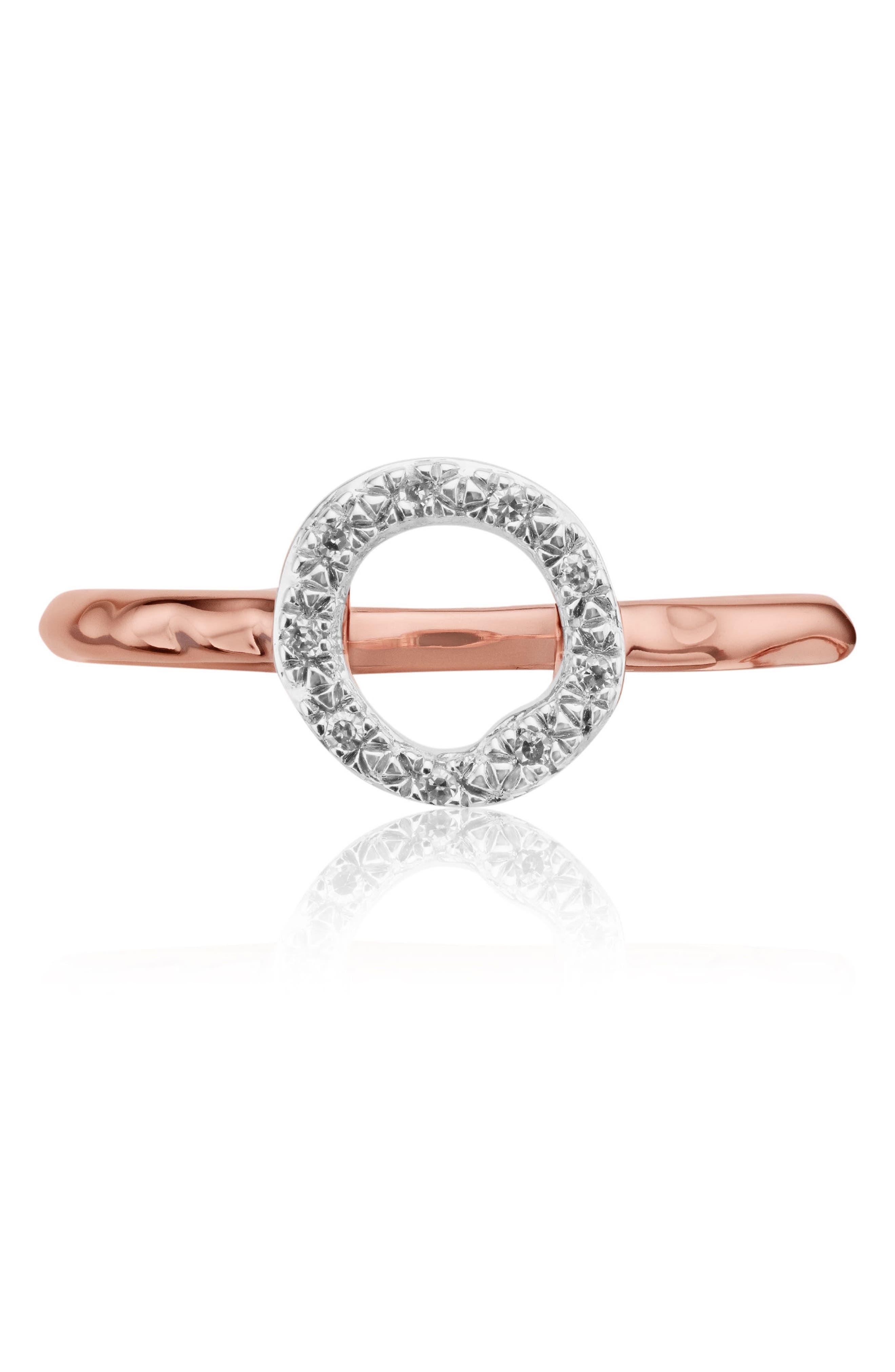 Riva Diamond Mini Circle Ring,                             Main thumbnail 1, color,                             Rose Gold/ Diamond