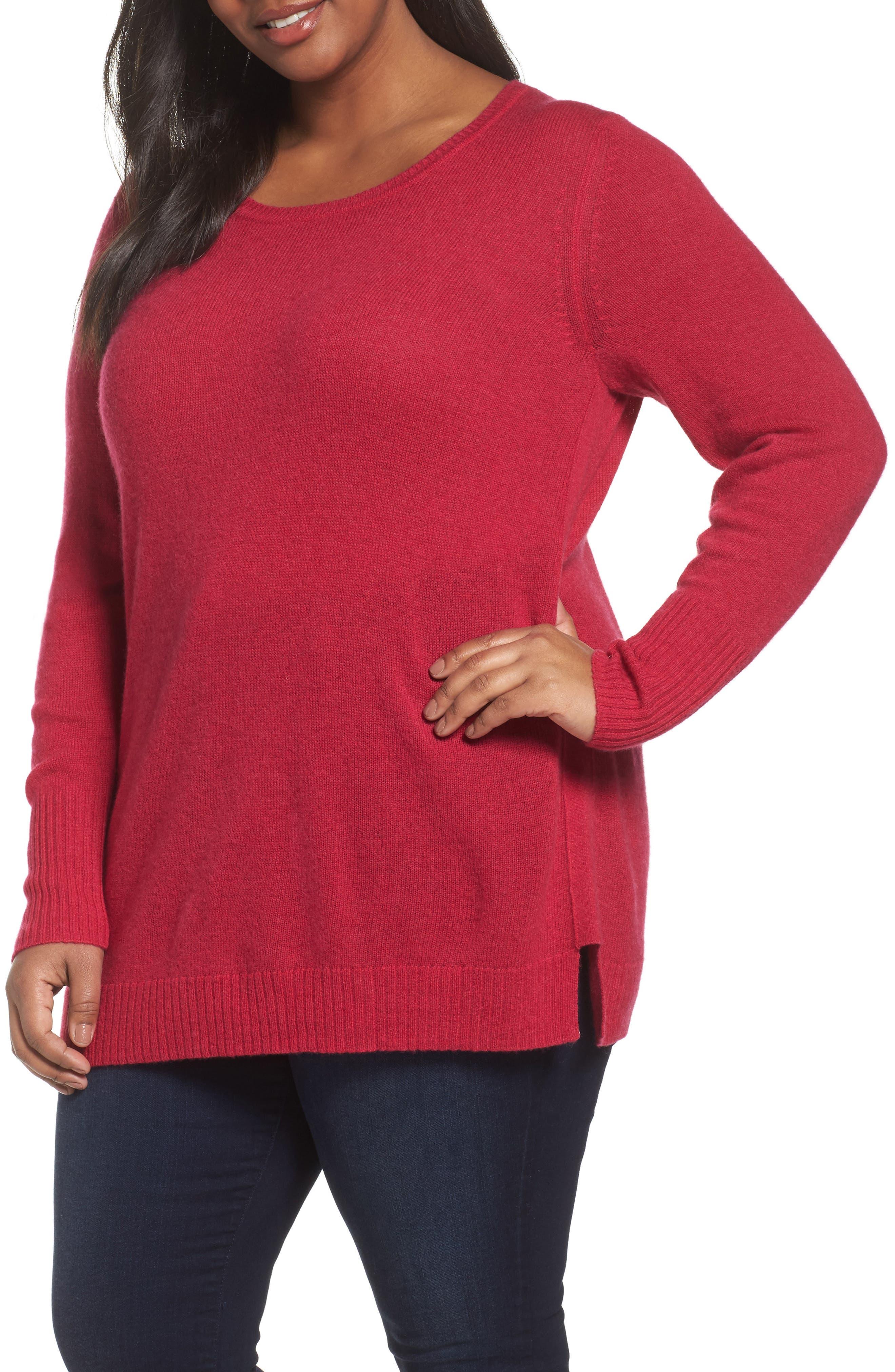 Main Image - Sejour Crewneck Side Split Wool & Cashmere Pullover (Plus Size)