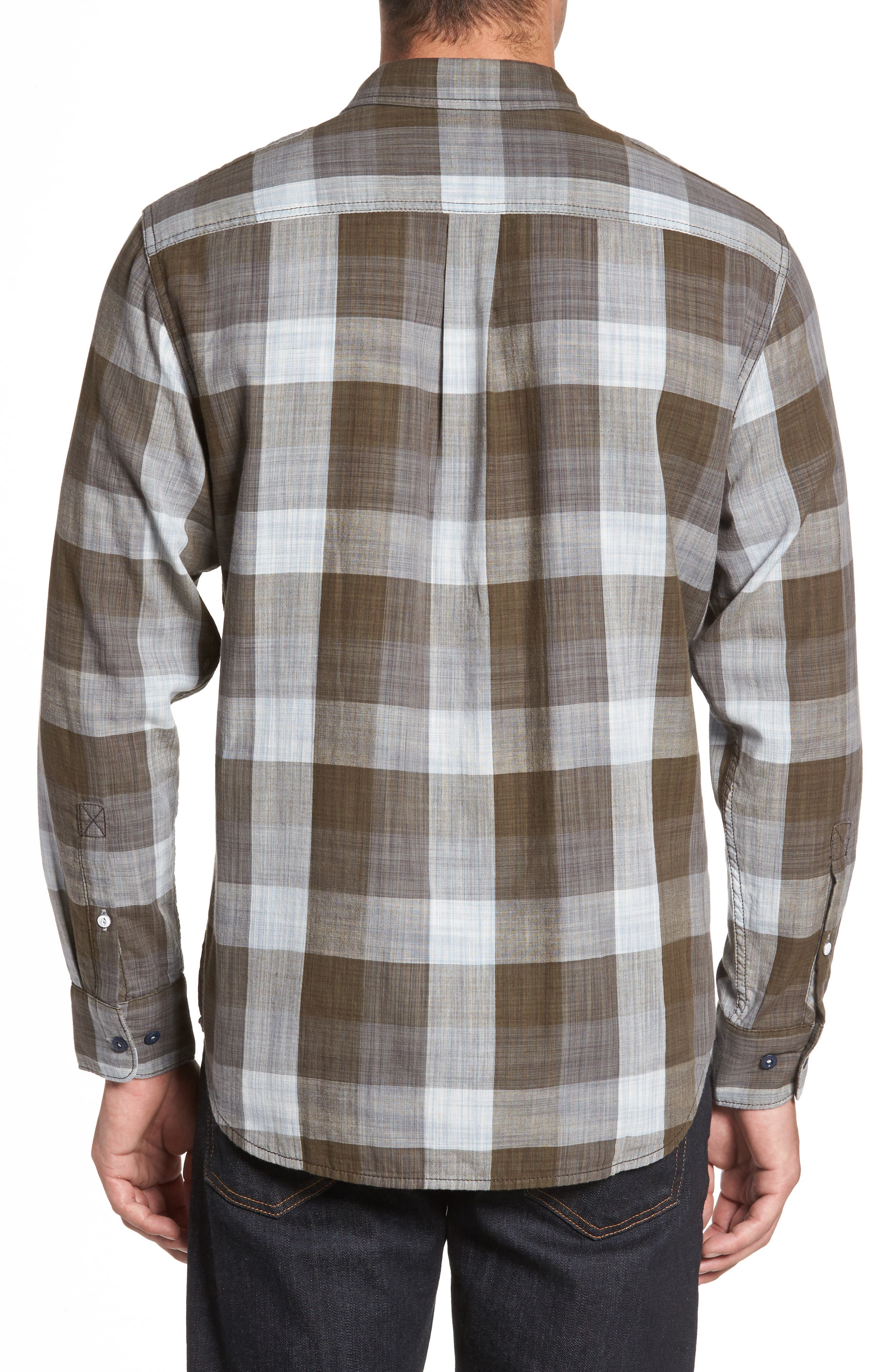 Dual Lux Standard Fit Check Sport Shirt,                             Alternate thumbnail 2, color,                             Pebble Grey