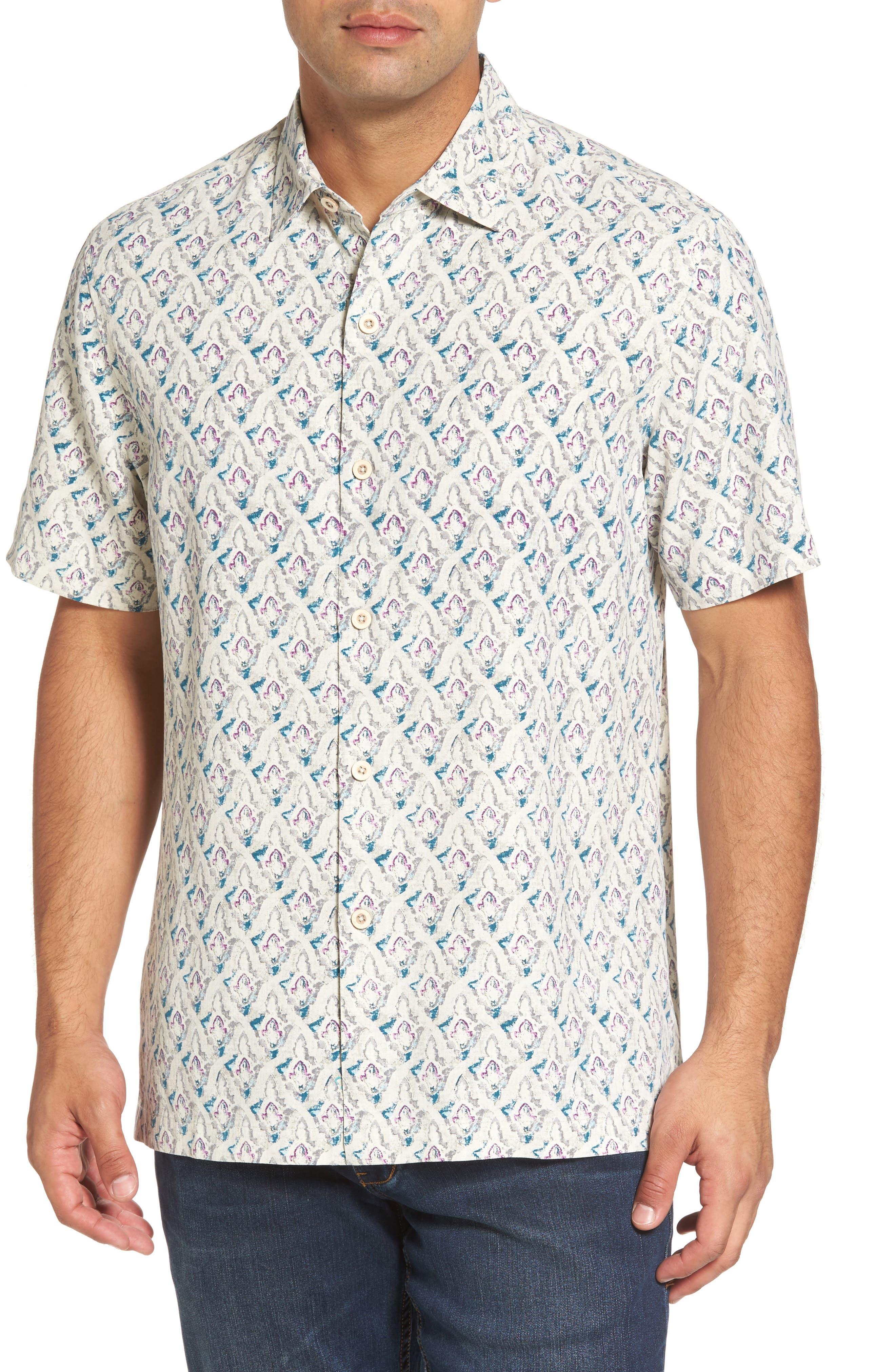 Alcazar Tiles Standard Fit Silk Camp Shirt,                         Main,                         color, Pebble
