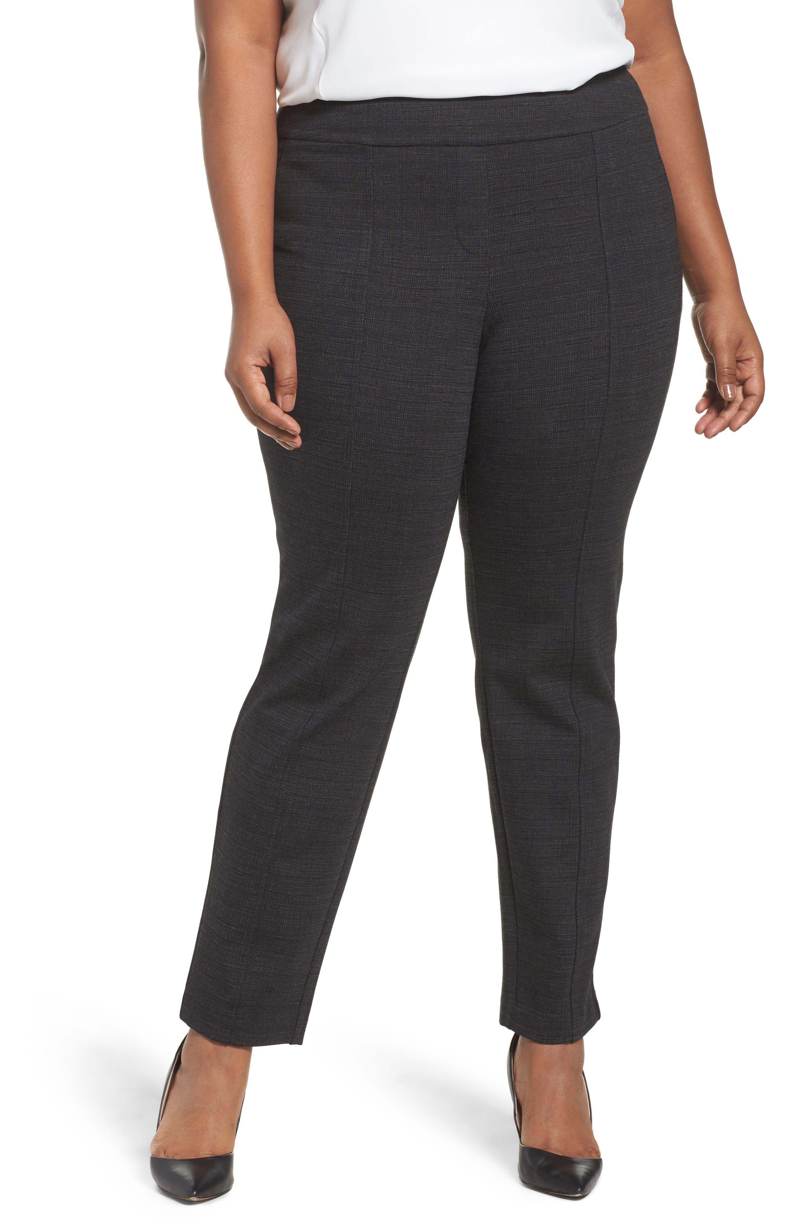 Sejour Crosshatch Stretch Ankle Pants (Plus Size)