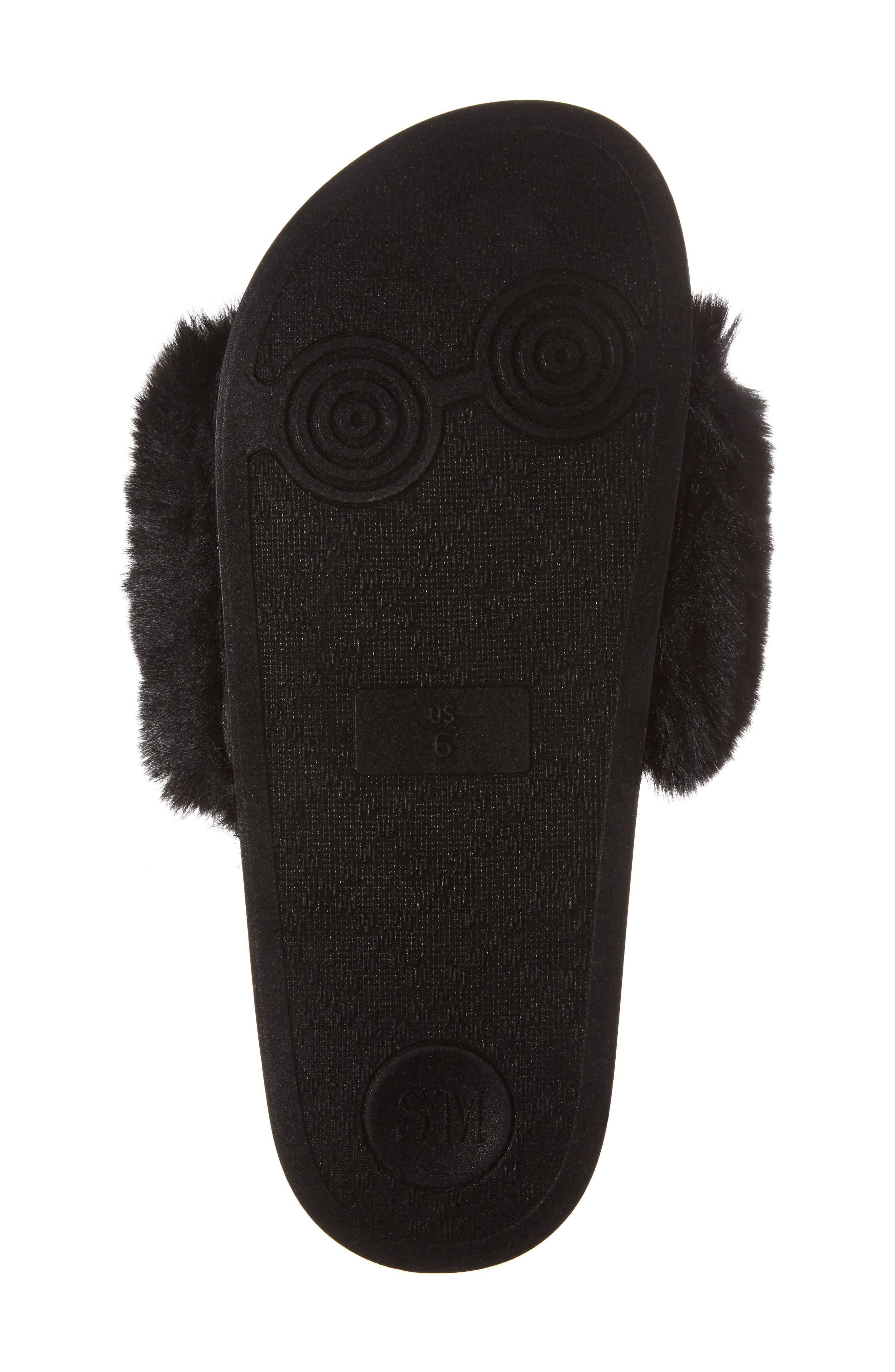 Spiral Faux Fur Slide Sandal,                             Alternate thumbnail 6, color,                             Black Multi