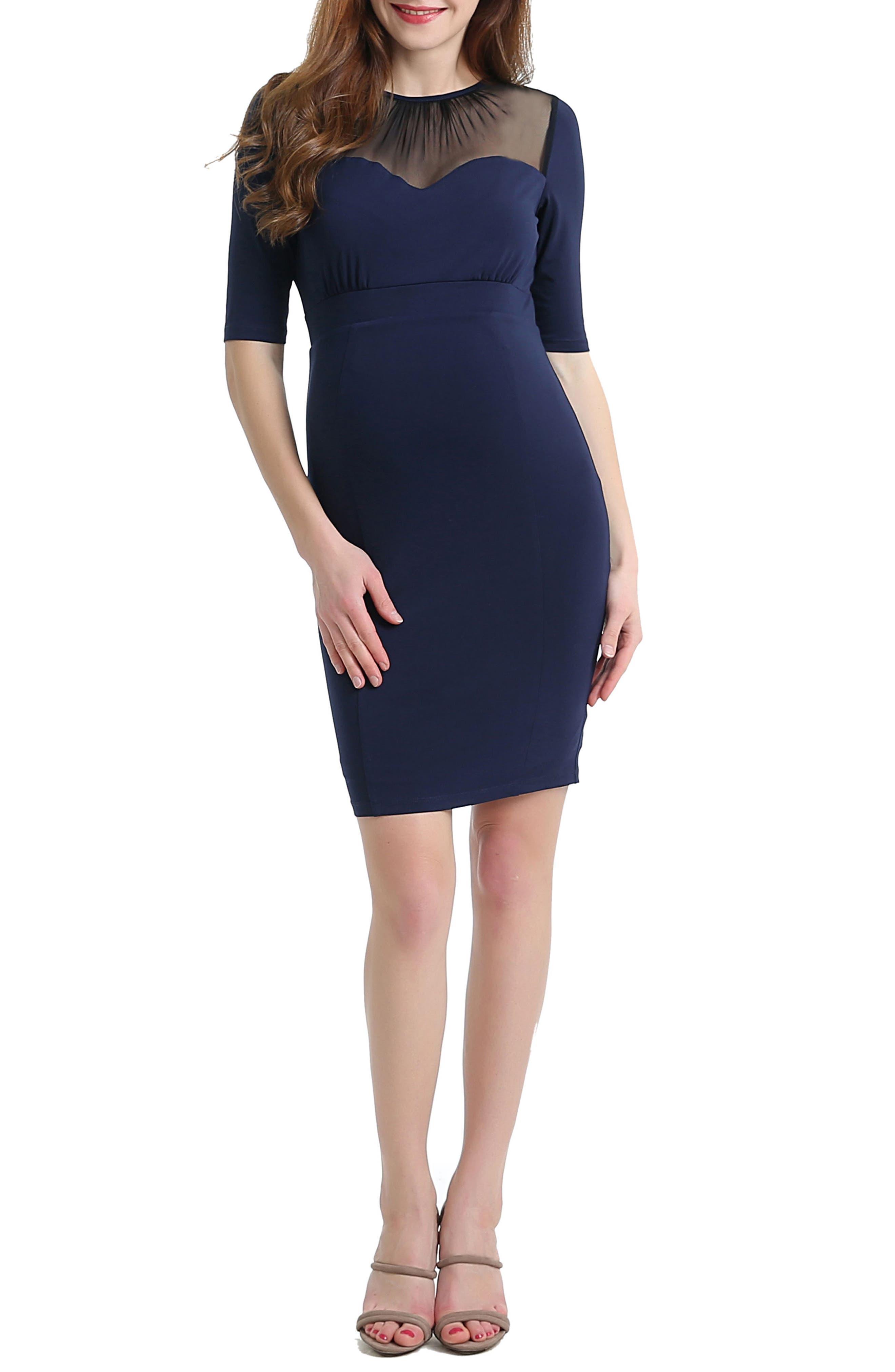 Alternate Image 5  - Kimi and Kai Tiffany Mesh Yoke Maternity Body-Con Dress