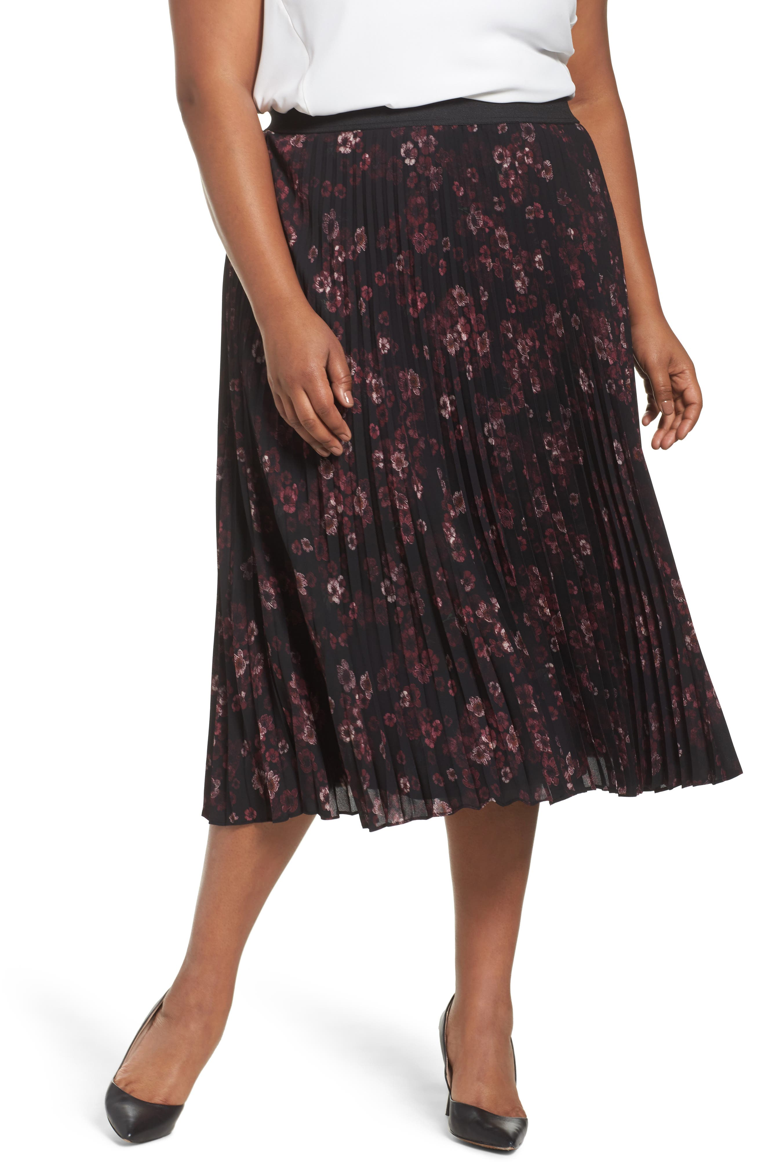 Sejour Pleated Midi Skirt (Plus Size)
