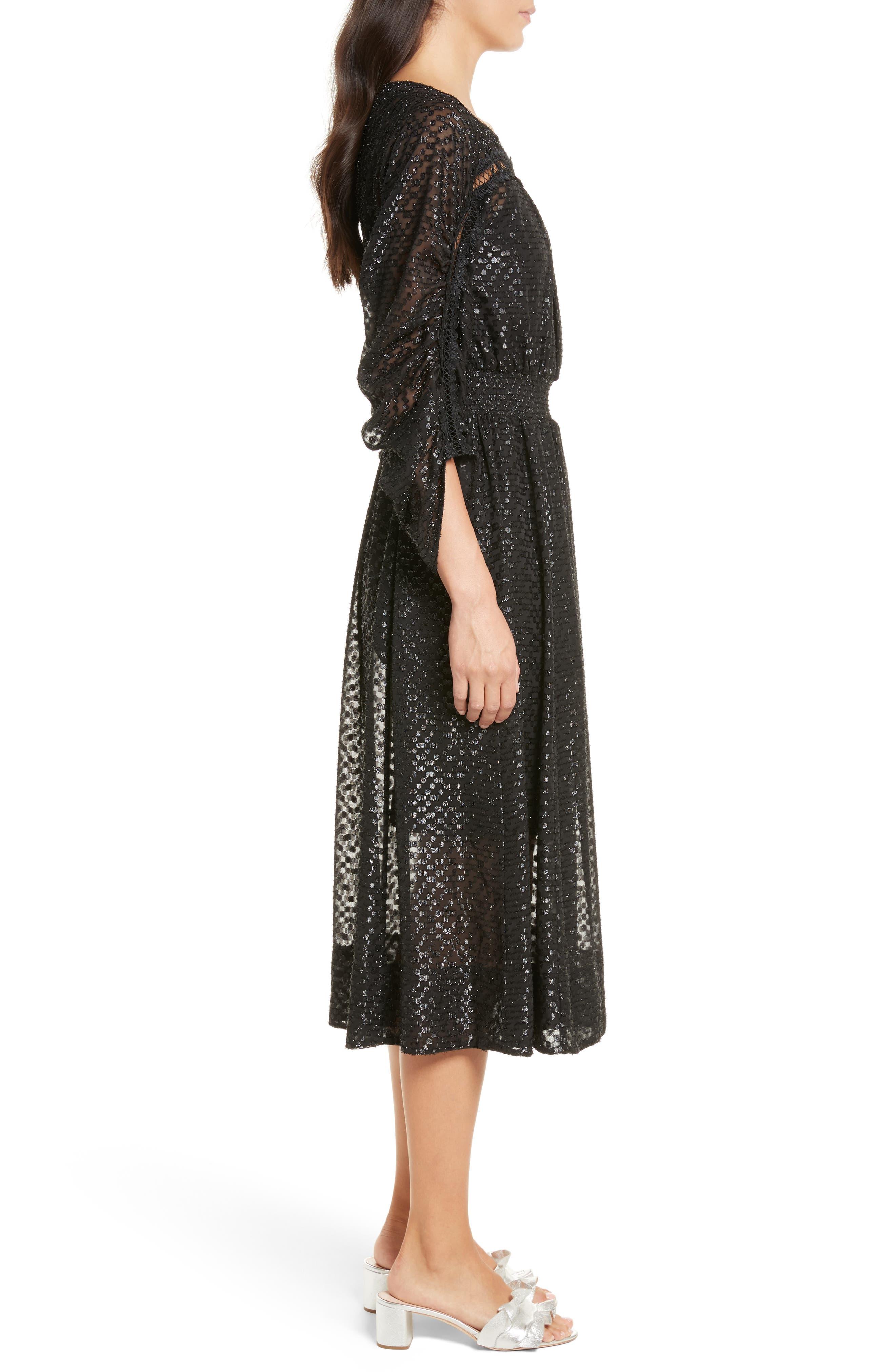 Alternate Image 3  - Tracy Reese Long Sleeve Metallic Dot Midi Dress