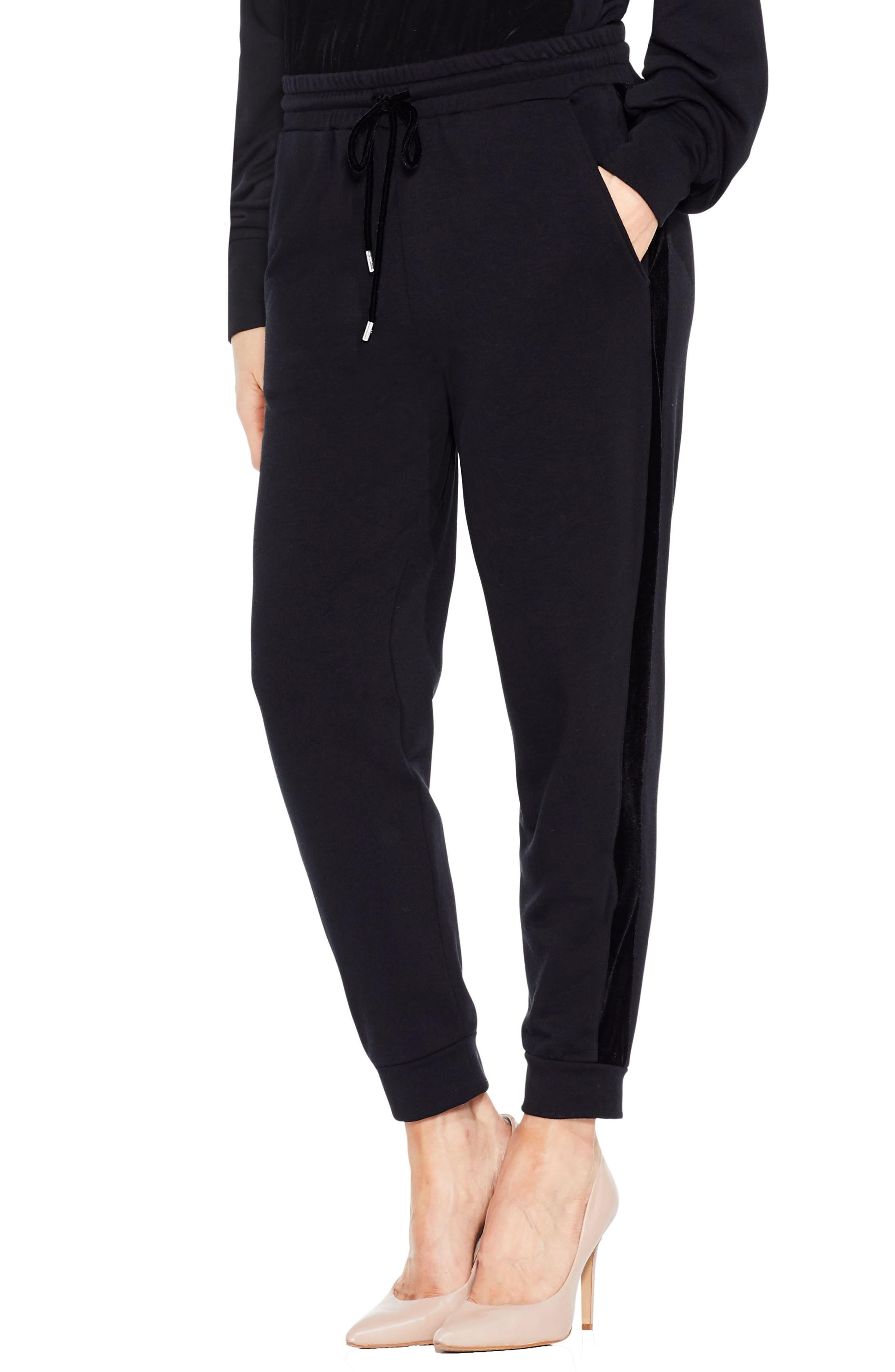 Velvet Stripe Jogger Pants,                         Main,                         color, Rich Black