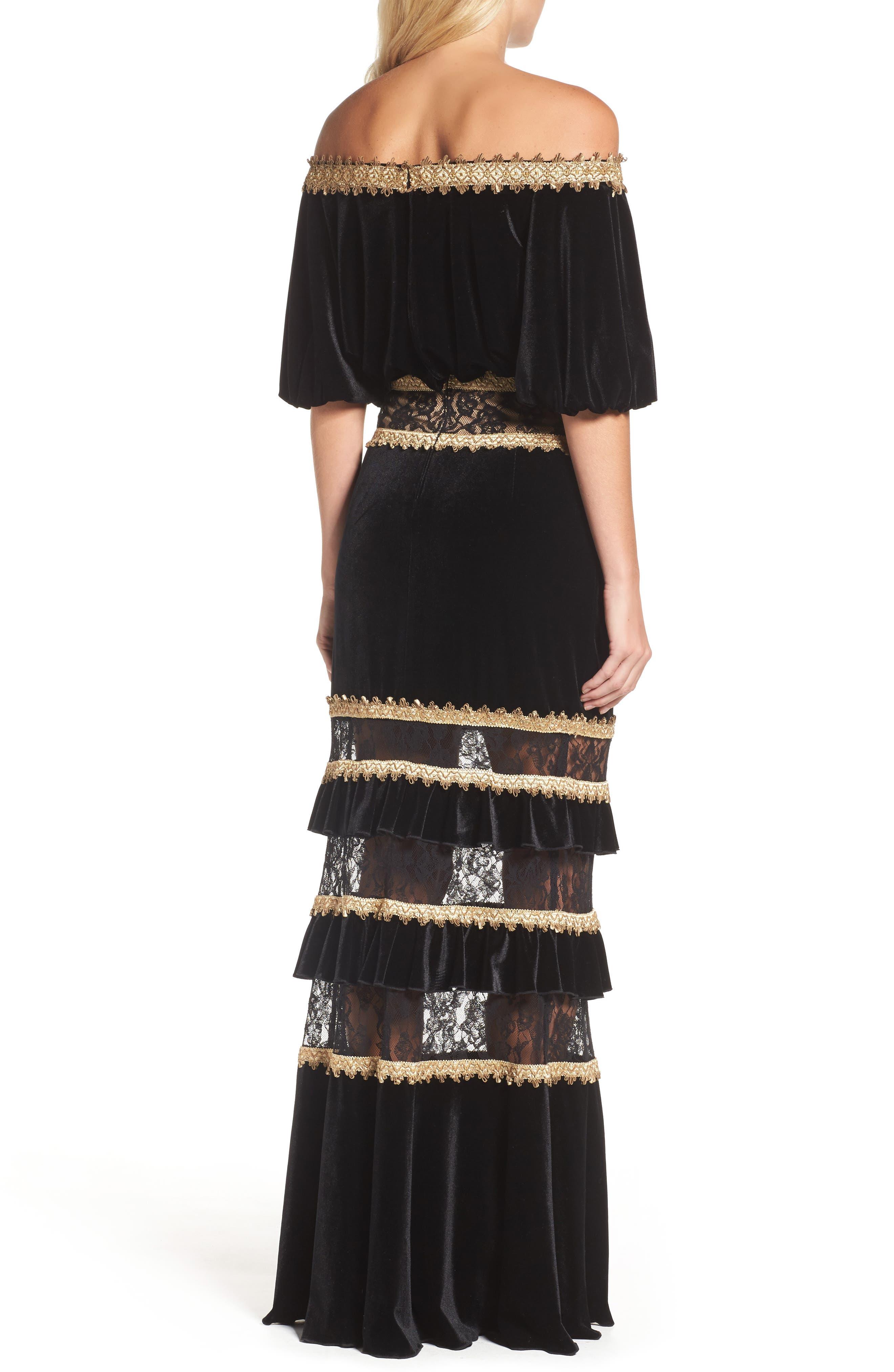 Alternate Image 2  - Tadashi Shoji Velvet Ruffle & Lace Off the Shoulder Gown