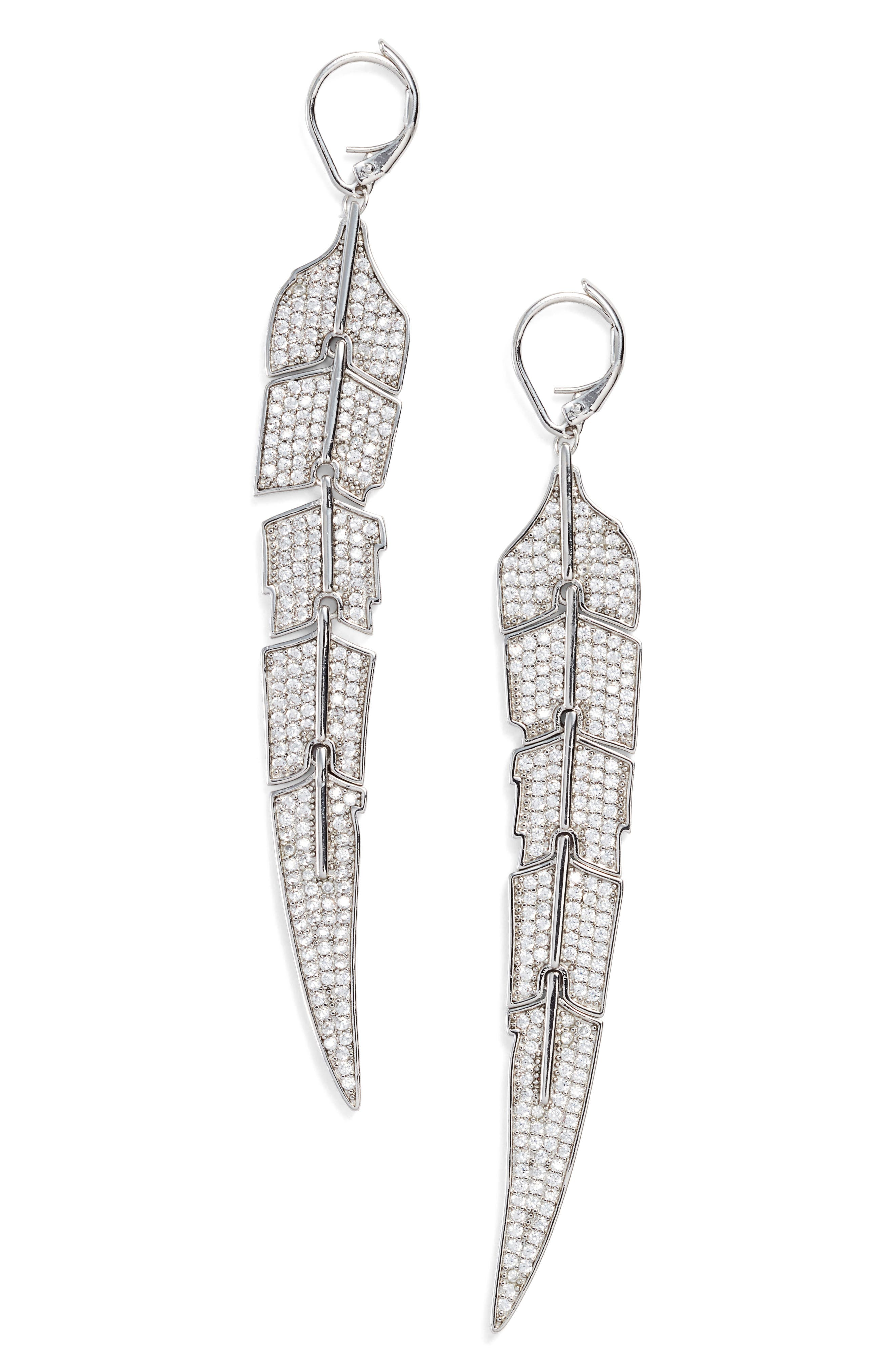 Feather Drop Earrings,                         Main,                         color, Silver