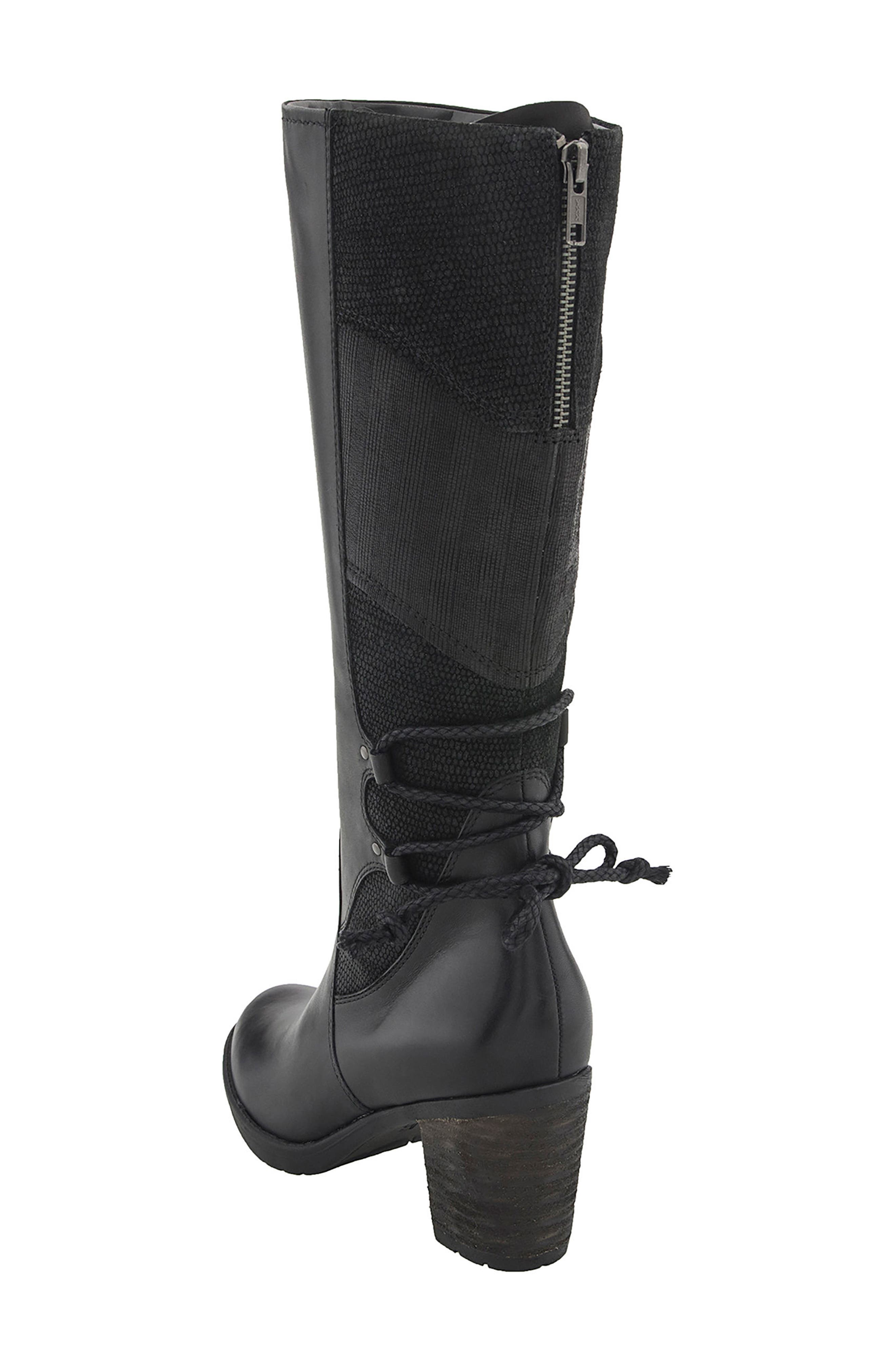 Miles Tall Boot,                             Alternate thumbnail 2, color,                             Black Leather