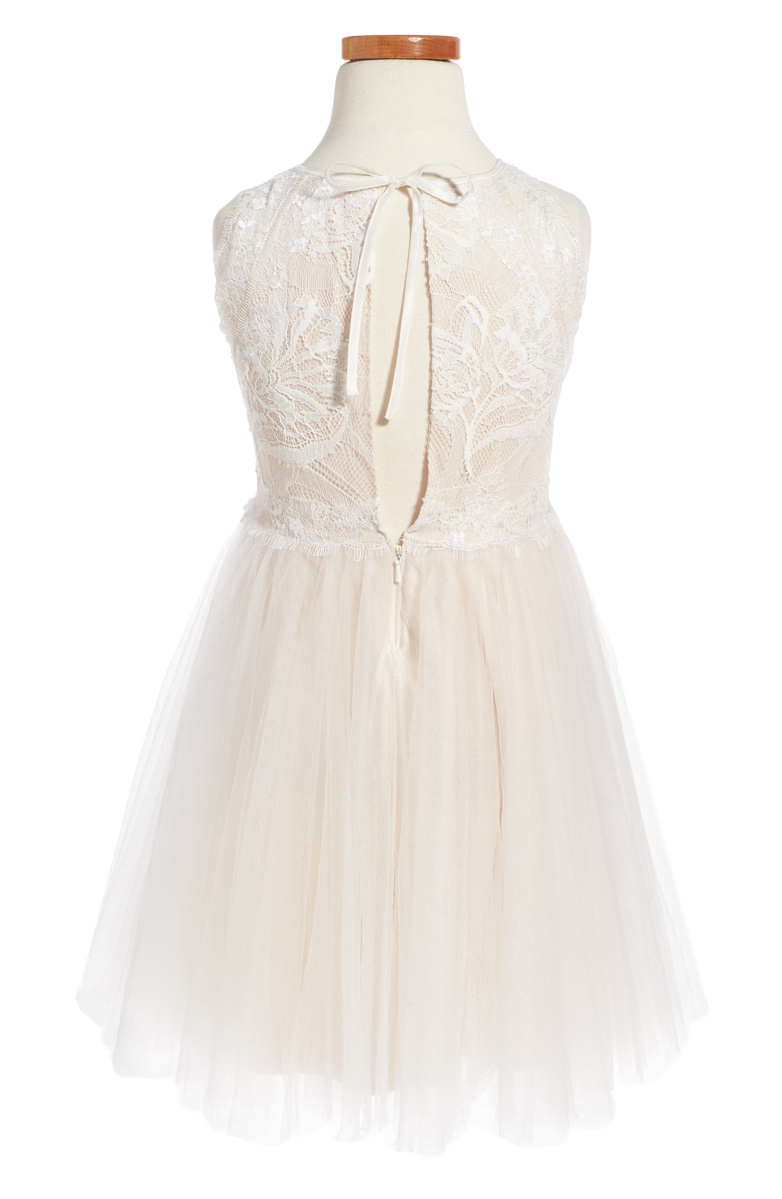 Alternate Image 2  - Tadashi Shoji Sleeveless Lace Dress (Toddler Girls, Little Girls & Big Girls)