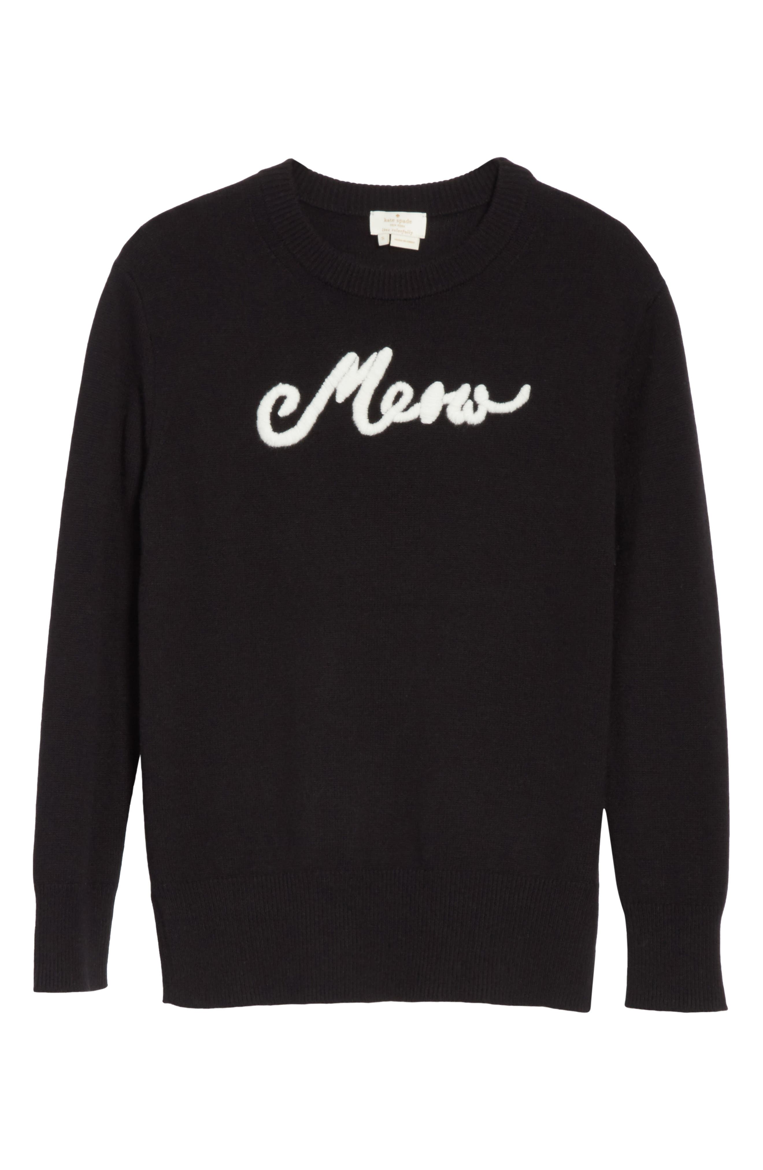 meow sweater,                             Alternate thumbnail 6, color,                             Black