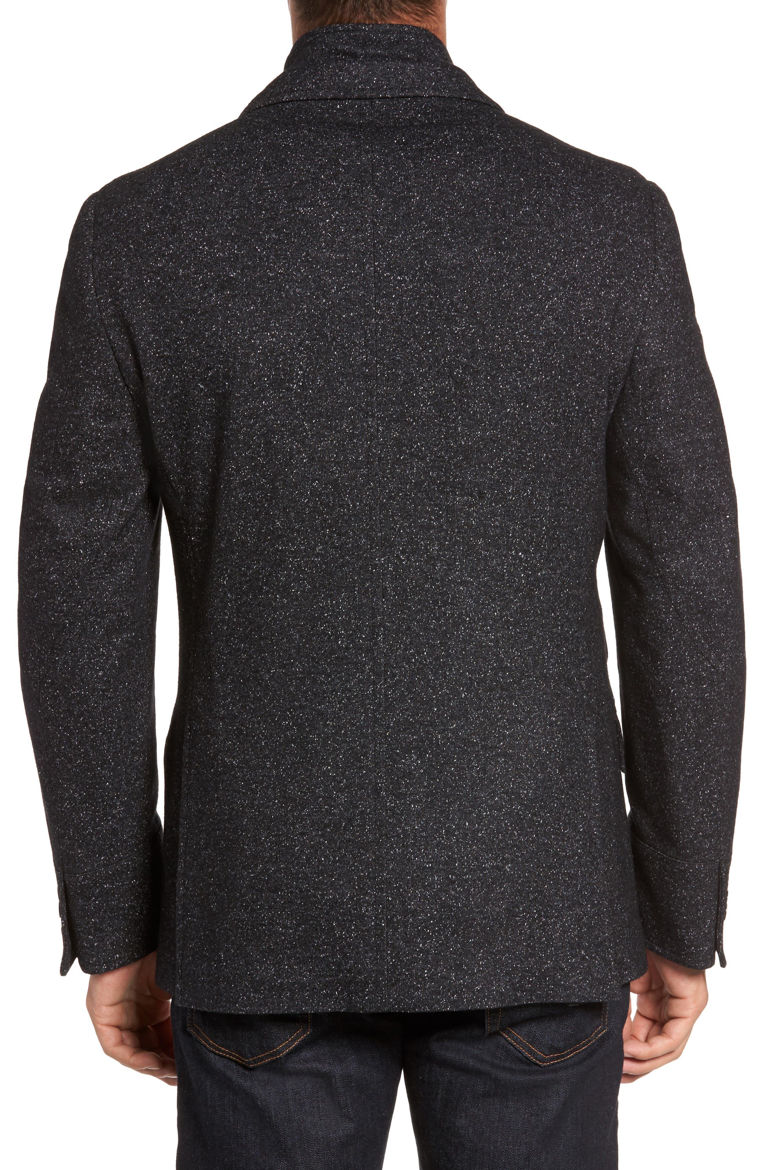 Donegal Wool Blend Hybrid Coat,                             Alternate thumbnail 2, color,                             Charcoal