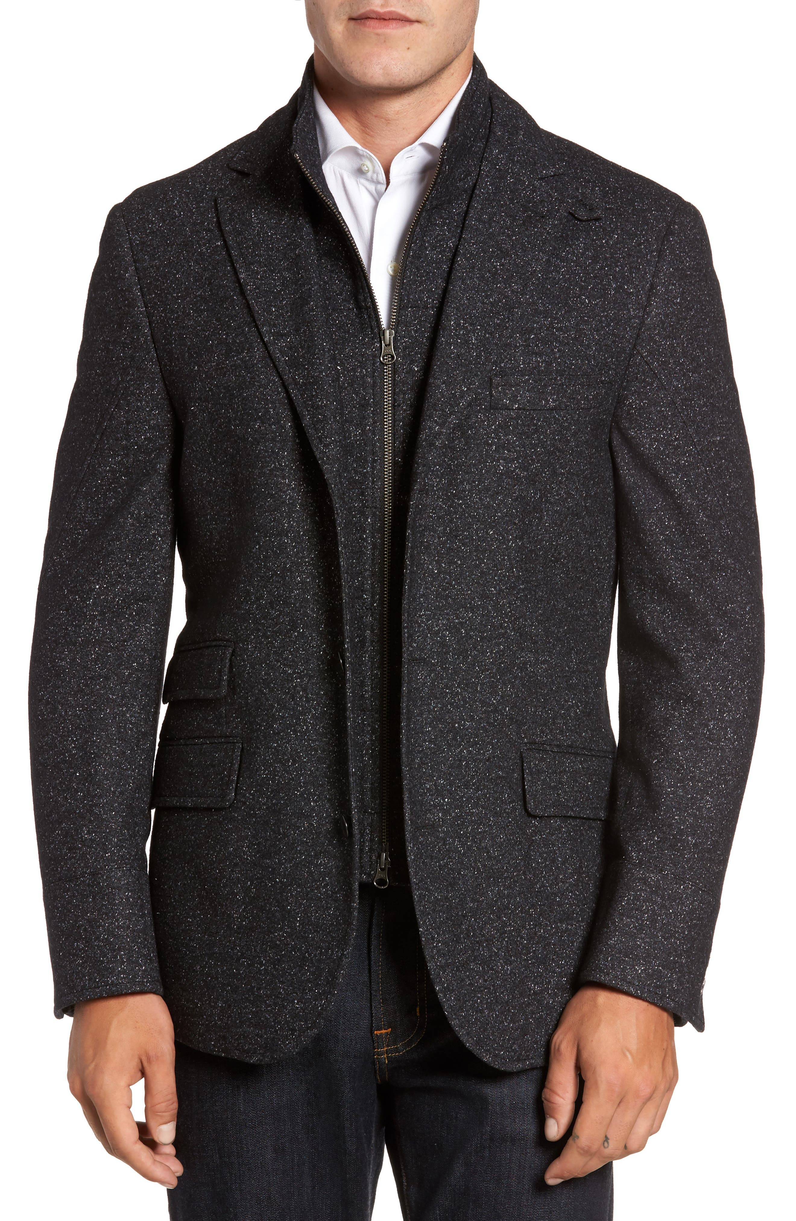 Donegal Wool Blend Hybrid Coat,                             Main thumbnail 1, color,                             Charcoal