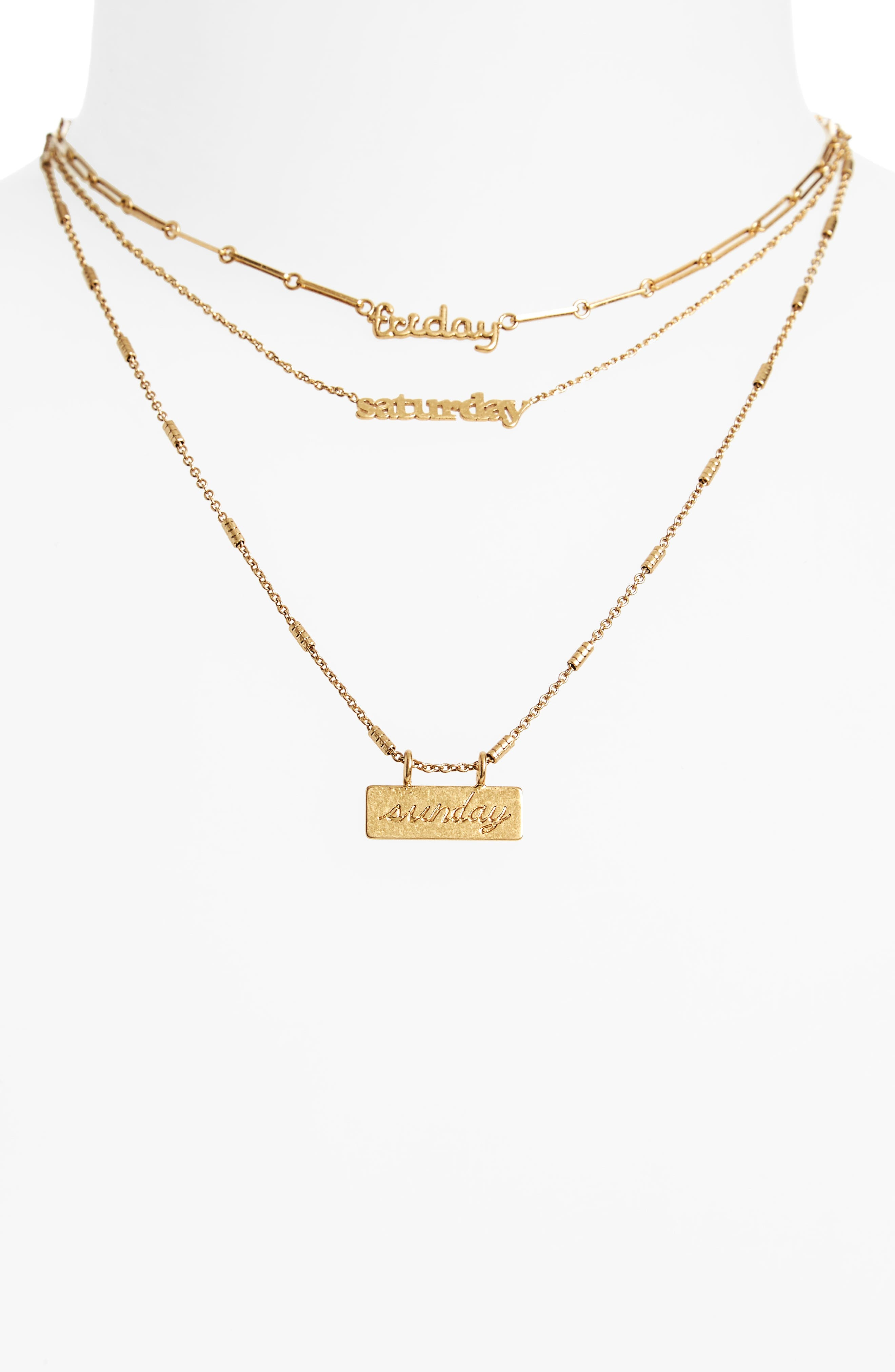 Madewell Friday Saturday Sunday Necklace Set